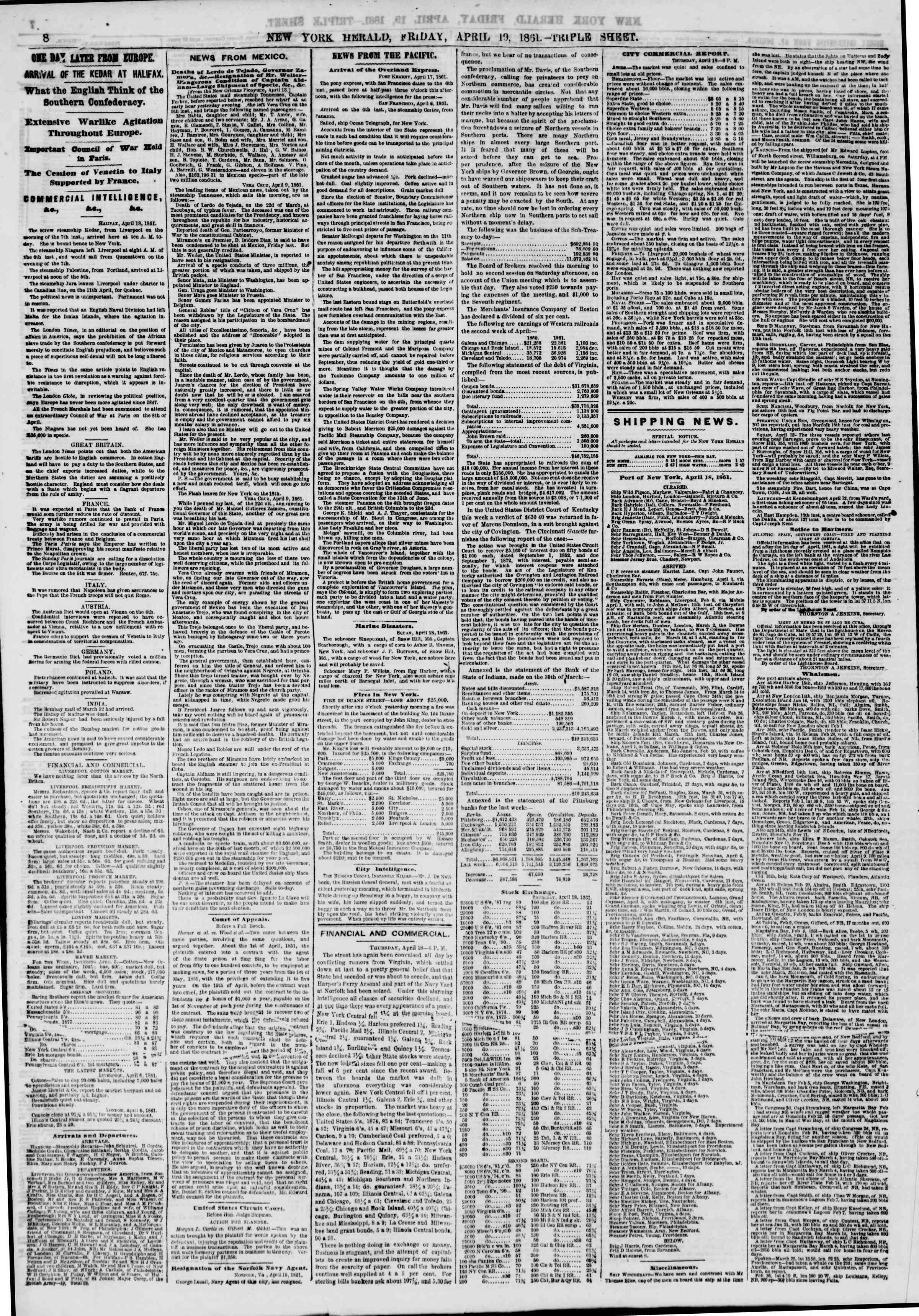Newspaper of The New York Herald dated April 19, 1861 Page 8