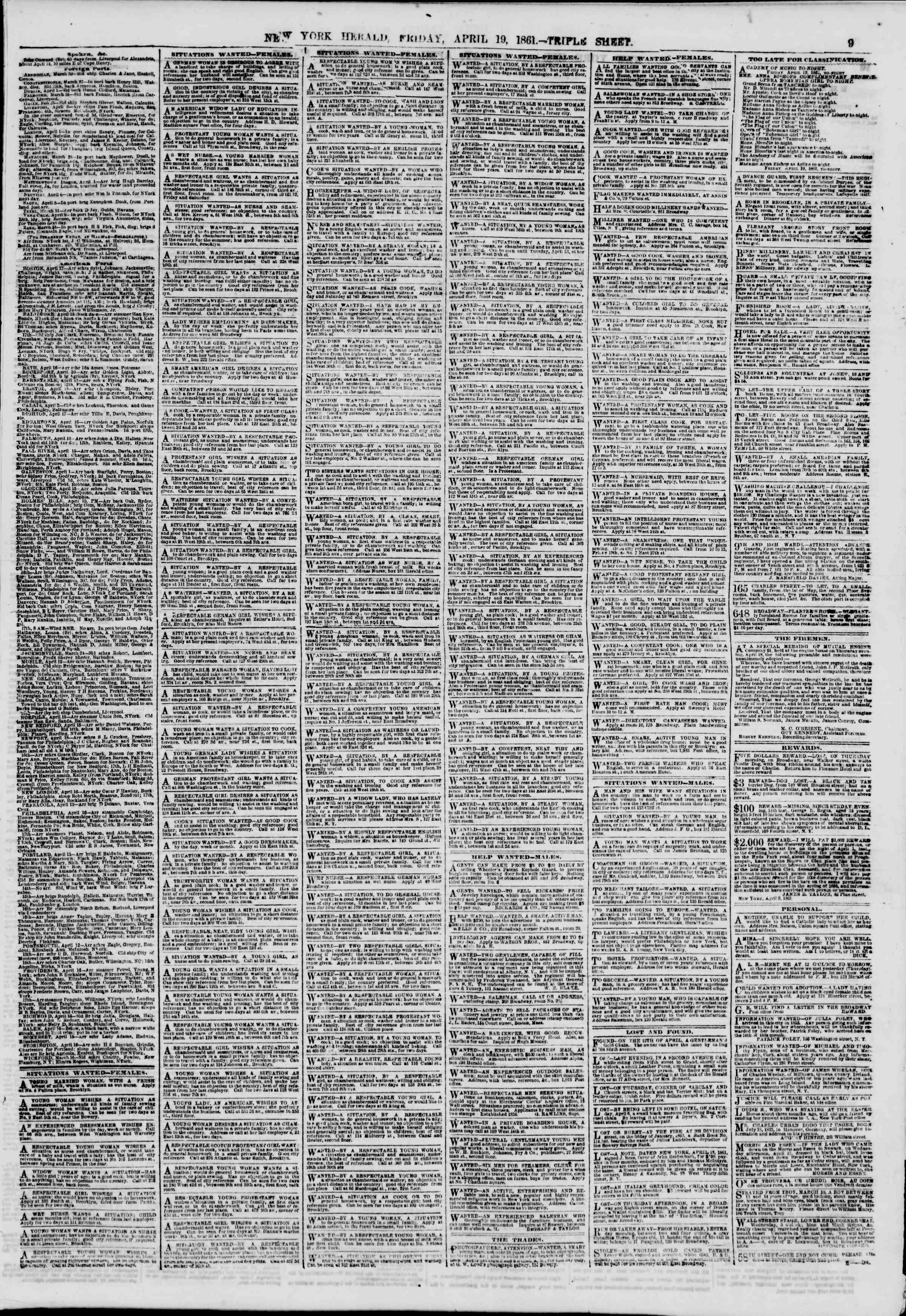 Newspaper of The New York Herald dated April 19, 1861 Page 9