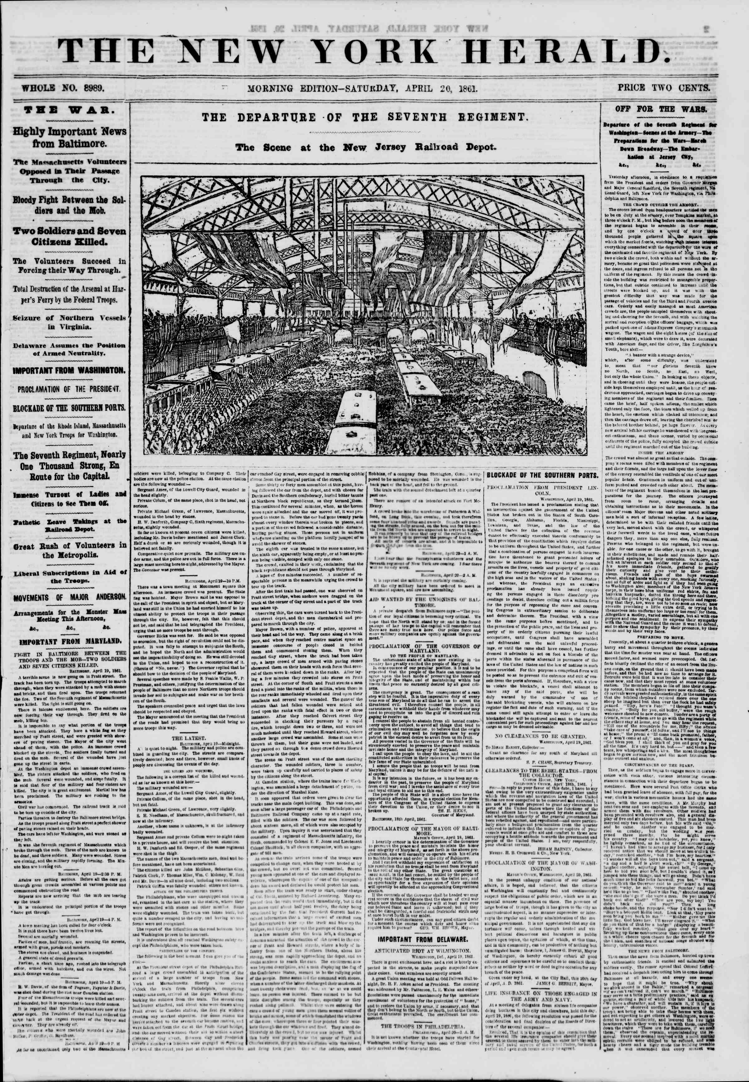 Newspaper of The New York Herald dated April 20, 1861 Page 1