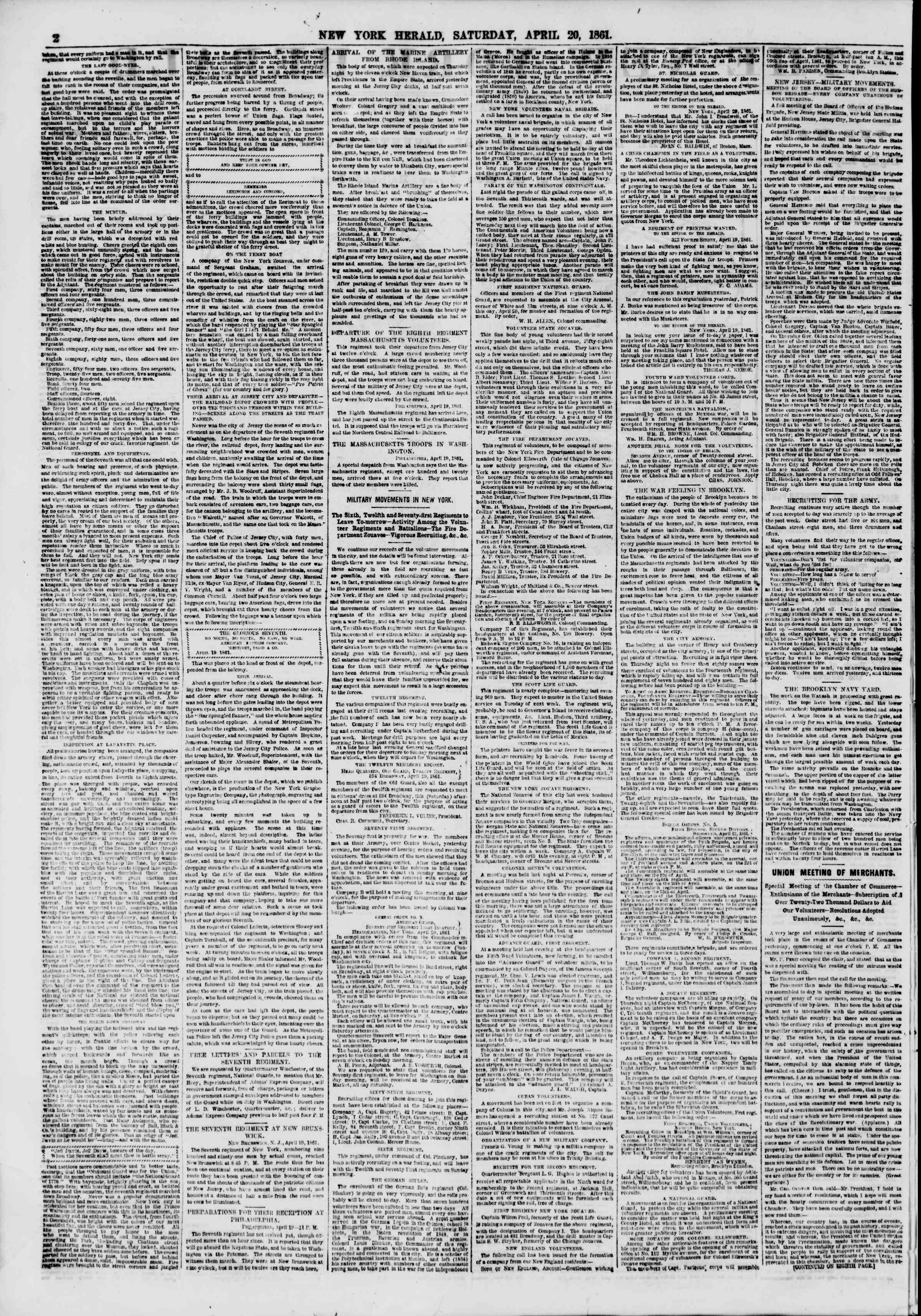 Newspaper of The New York Herald dated April 20, 1861 Page 2