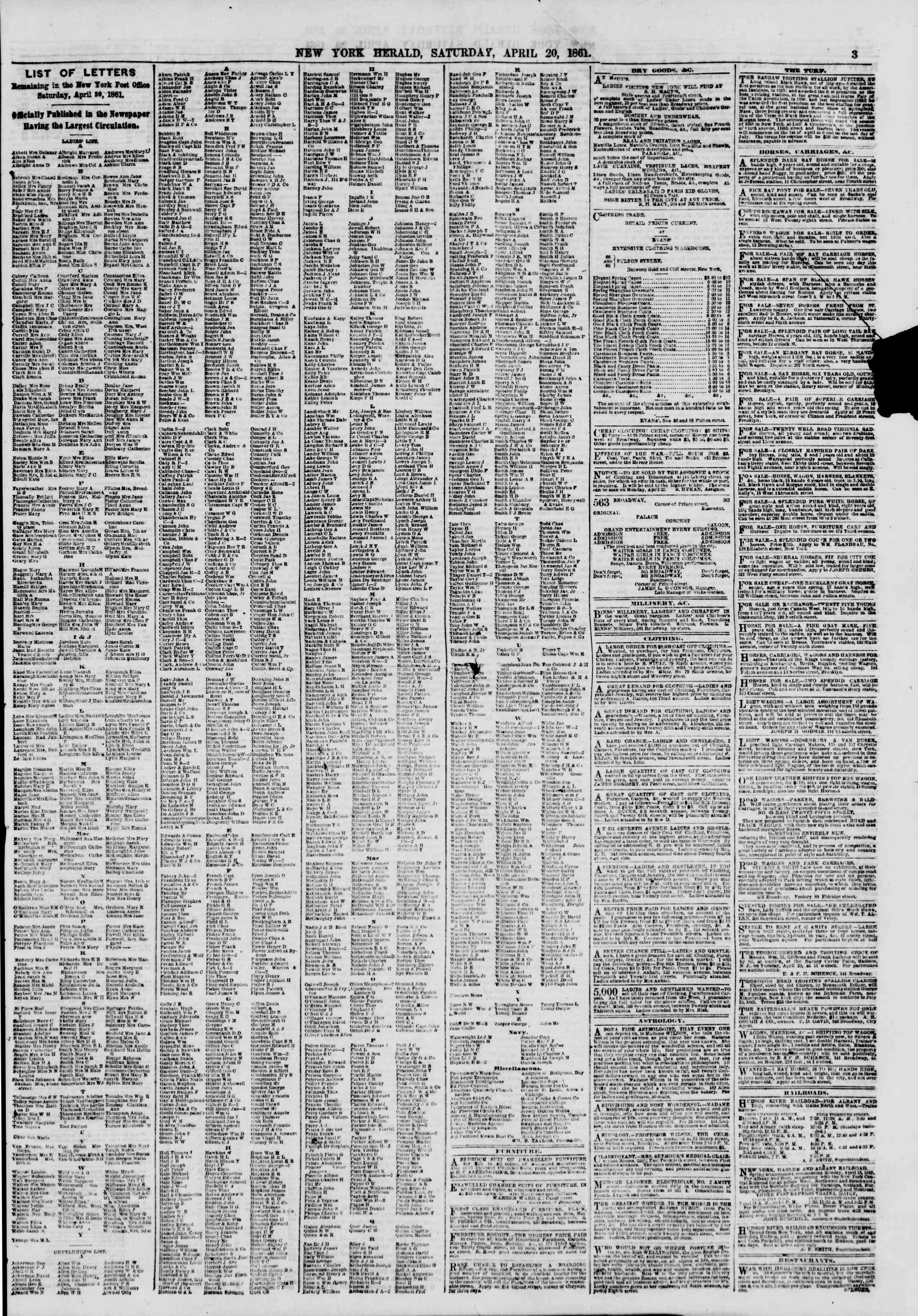 20 Nisan 1861 tarihli The New York Herald Gazetesi Sayfa 3