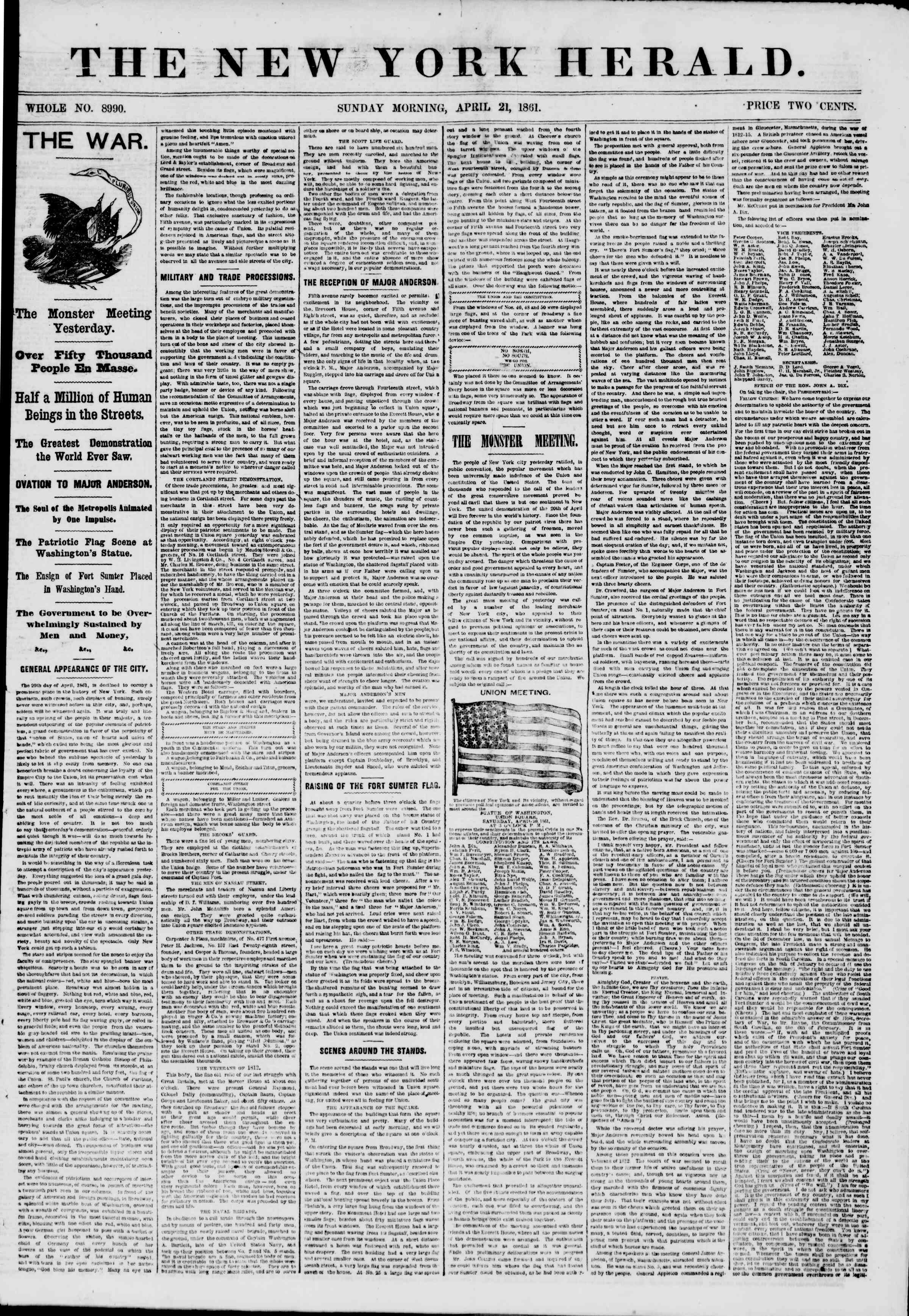 Newspaper of The New York Herald dated April 21, 1861 Page 1