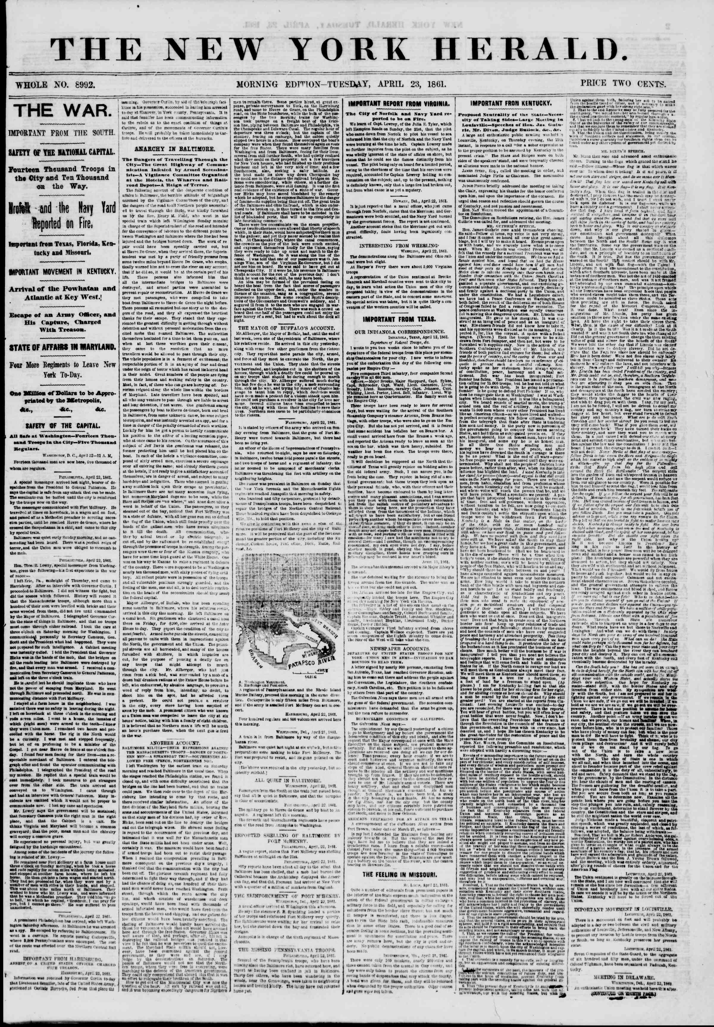 23 Nisan 1861 tarihli The New York Herald Gazetesi Sayfa 1