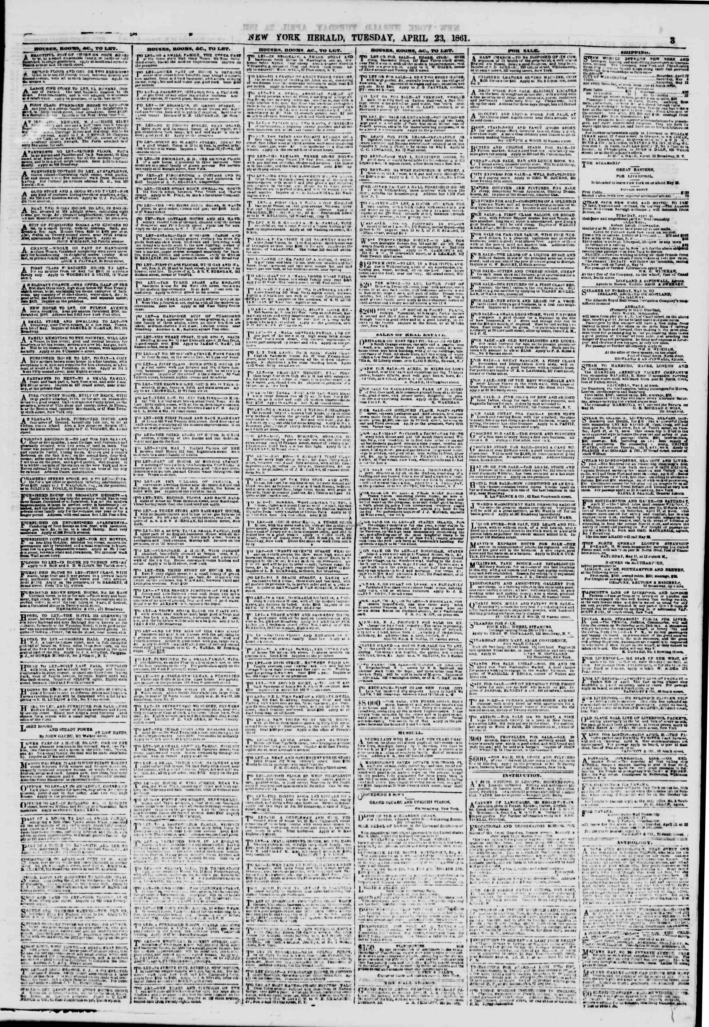 Newspaper of The New York Herald dated April 23, 1861 Page 3