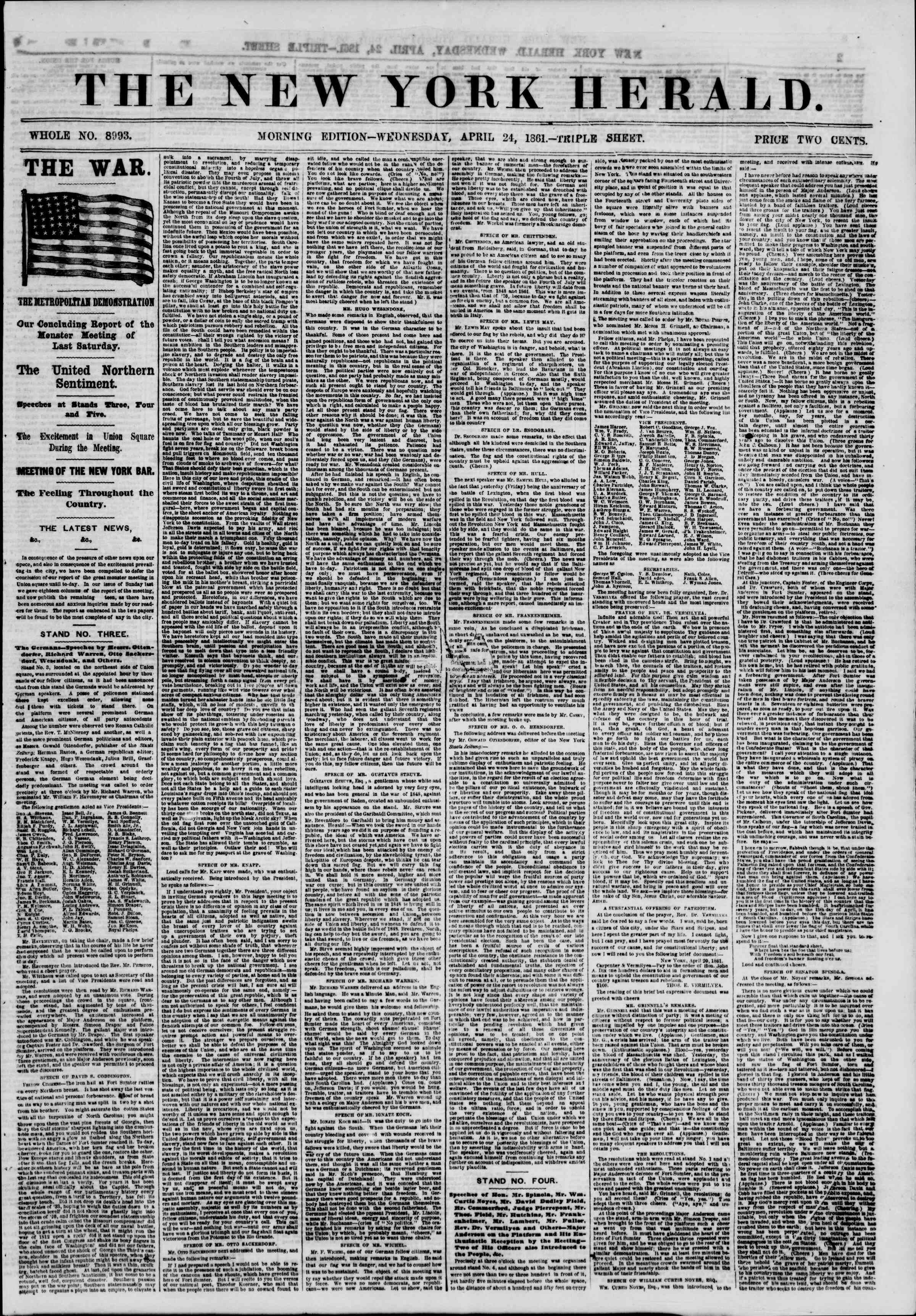 Newspaper of The New York Herald dated April 24, 1861 Page 1