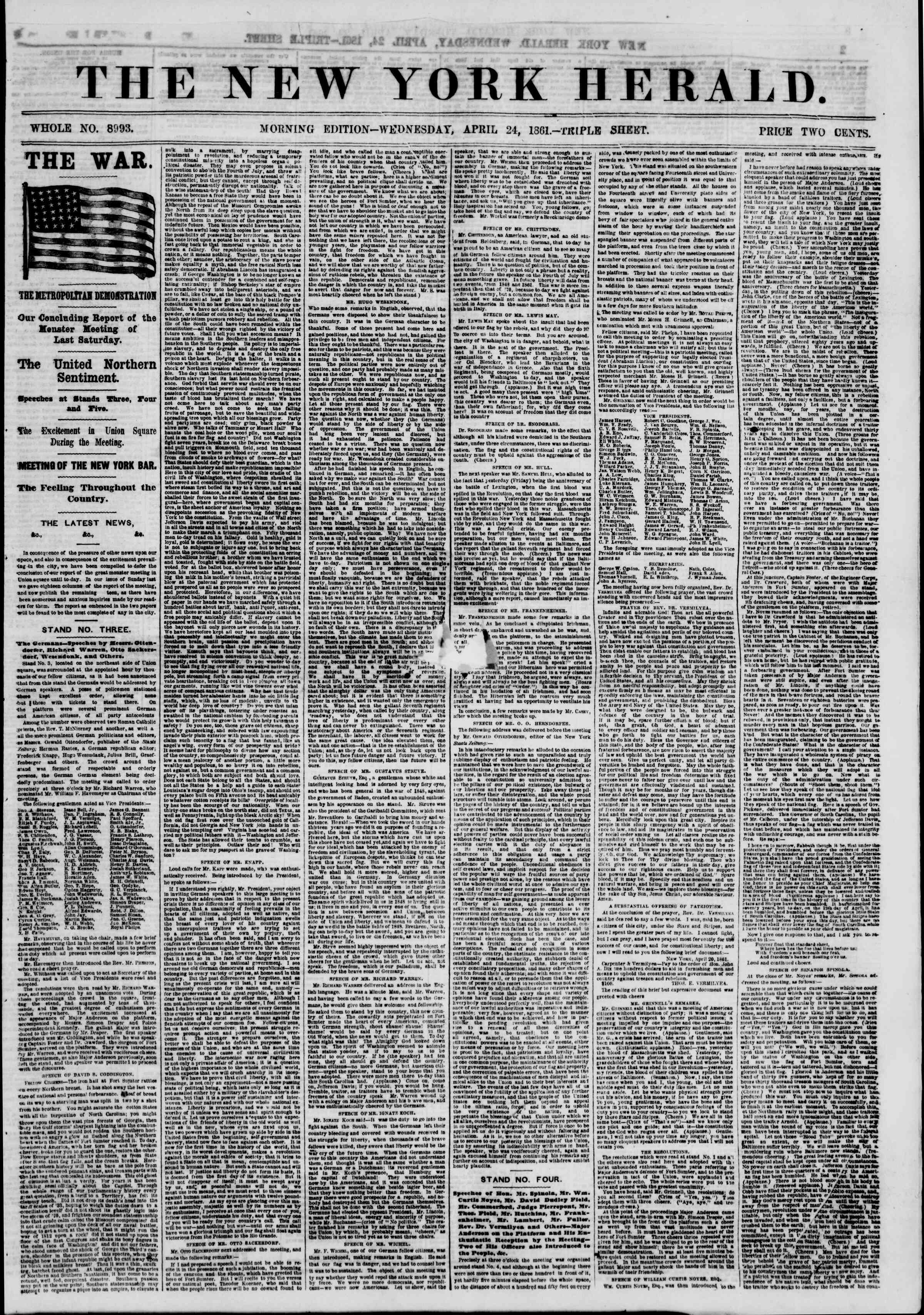 Newspaper of The New York Herald dated April 24, 1861 Page 2
