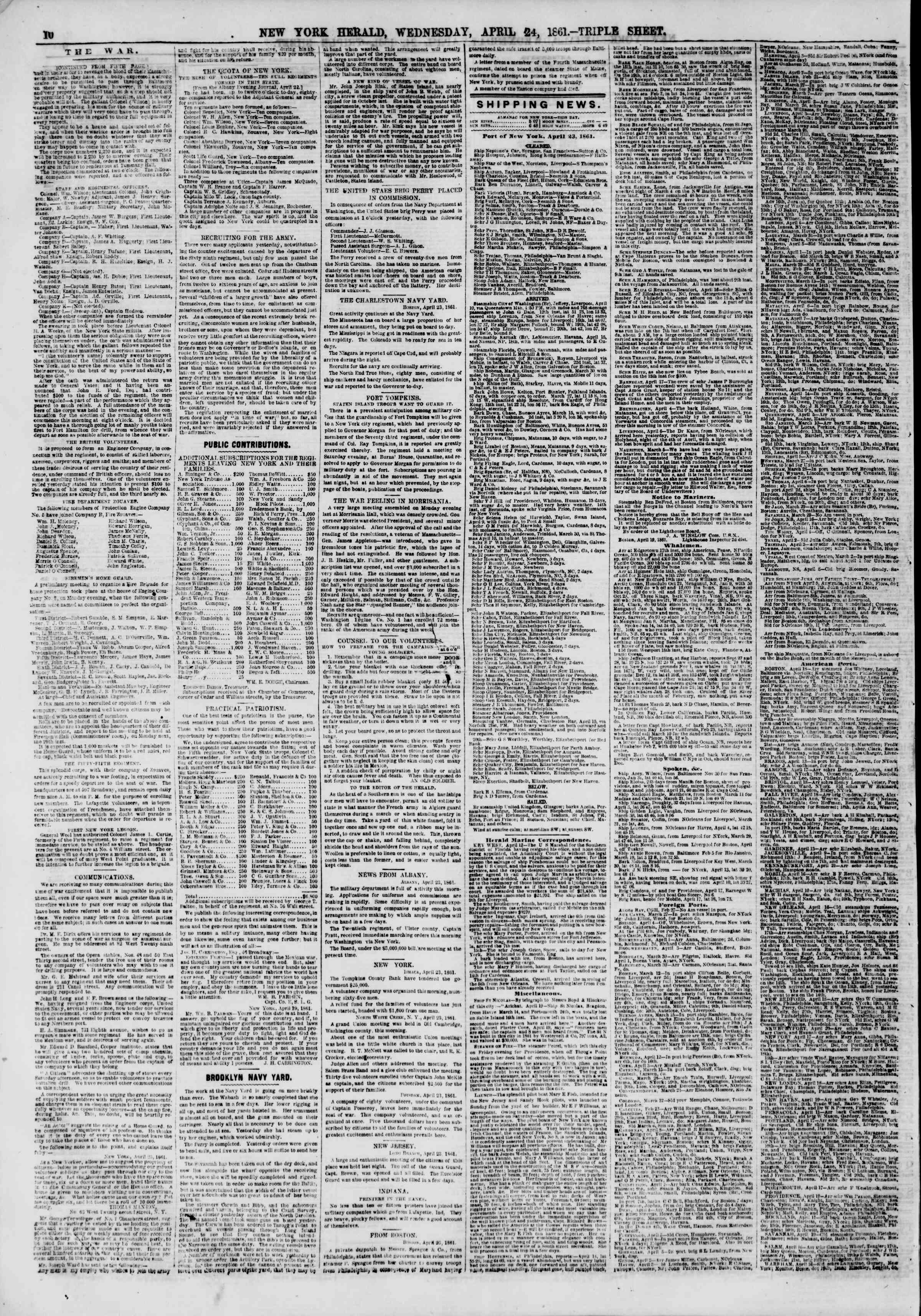 Newspaper of The New York Herald dated April 24, 1861 Page 11