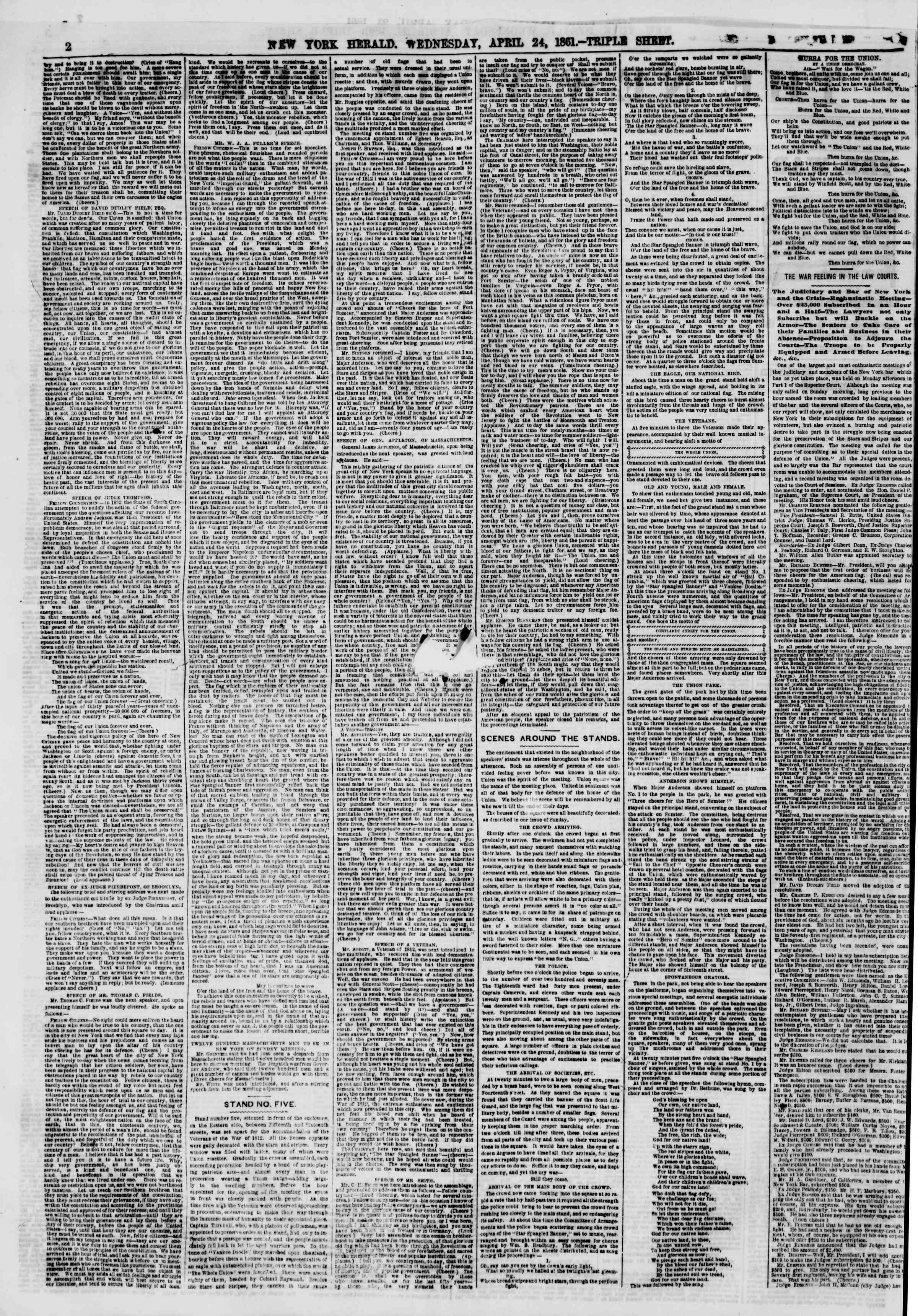 Newspaper of The New York Herald dated April 24, 1861 Page 3