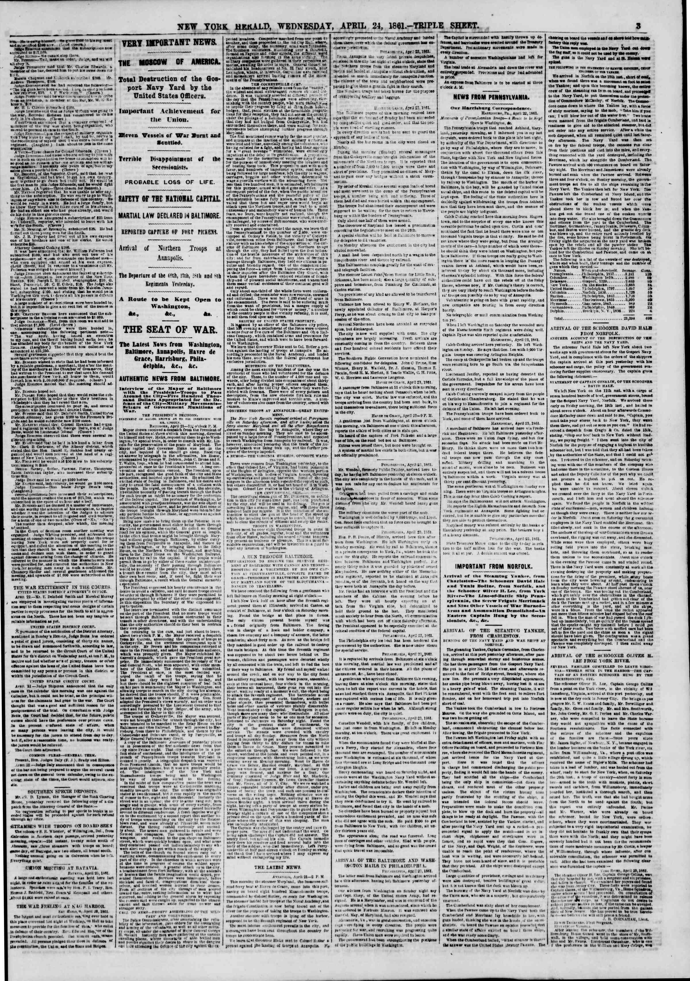 Newspaper of The New York Herald dated April 24, 1861 Page 4