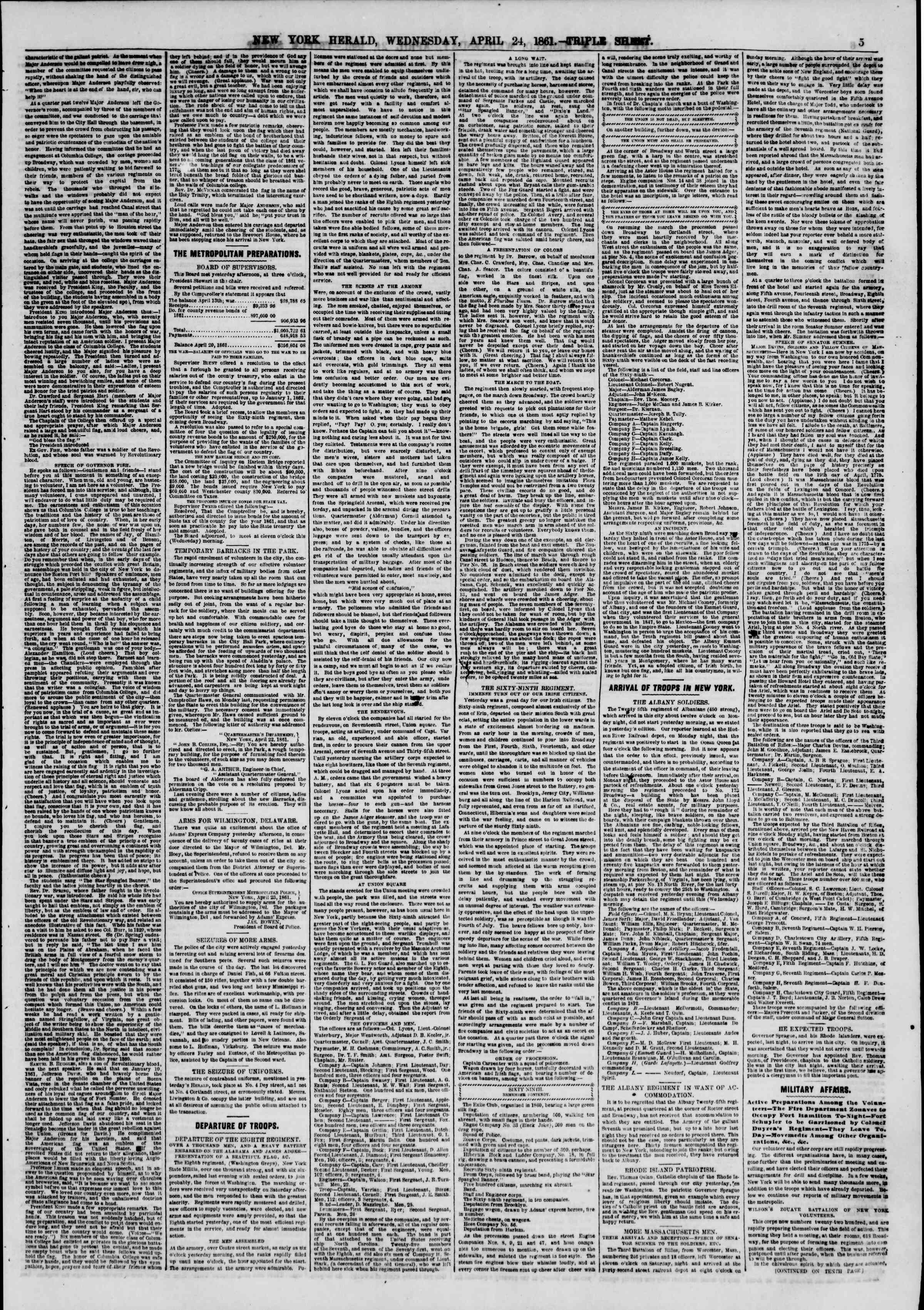 Newspaper of The New York Herald dated April 24, 1861 Page 6