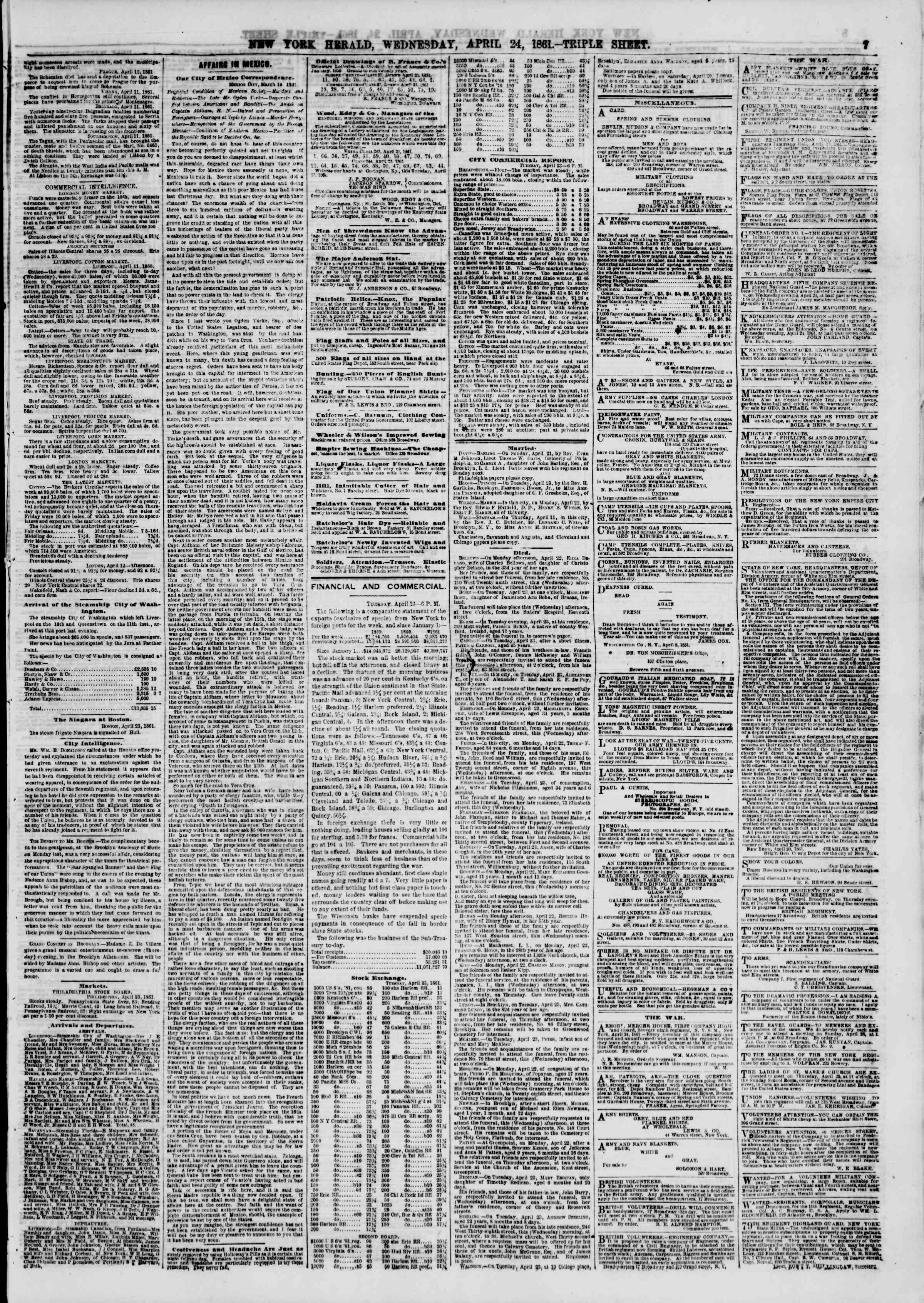 Newspaper of The New York Herald dated April 24, 1861 Page 8