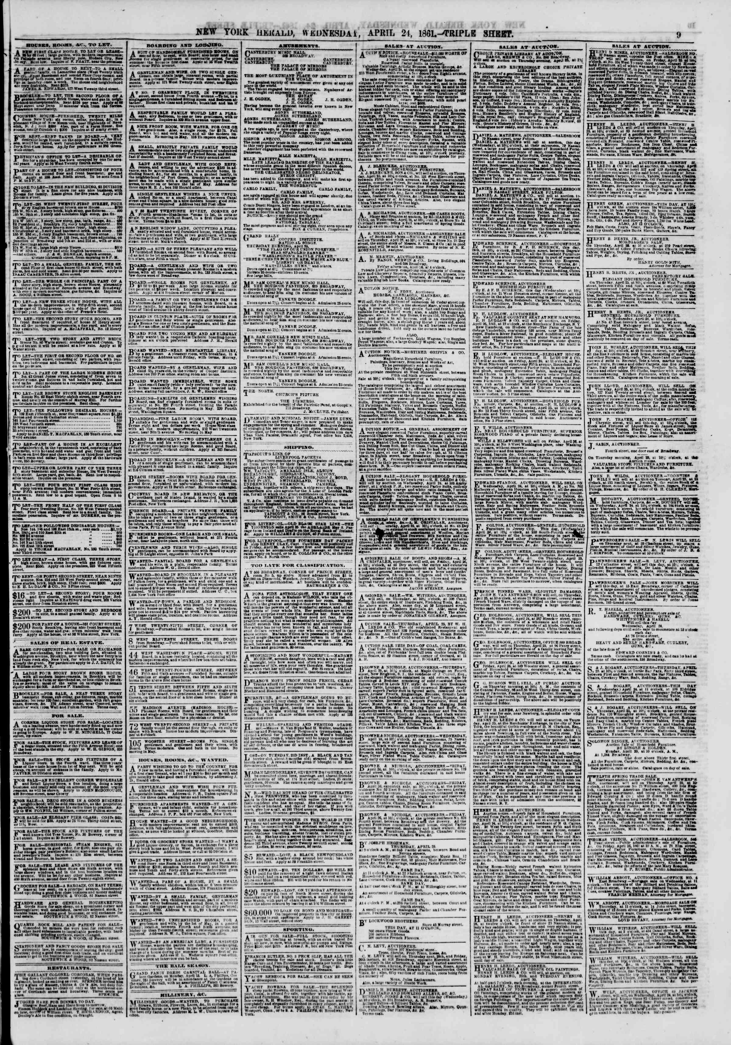 Newspaper of The New York Herald dated April 24, 1861 Page 10