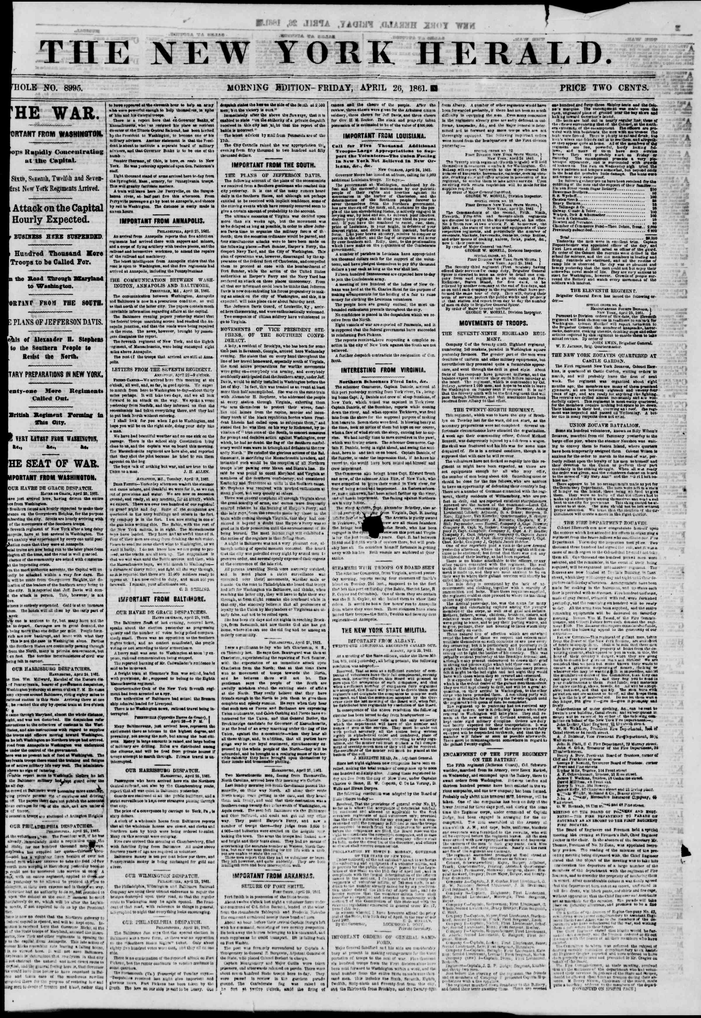Newspaper of The New York Herald dated 26 Nisan 1861 Page 1