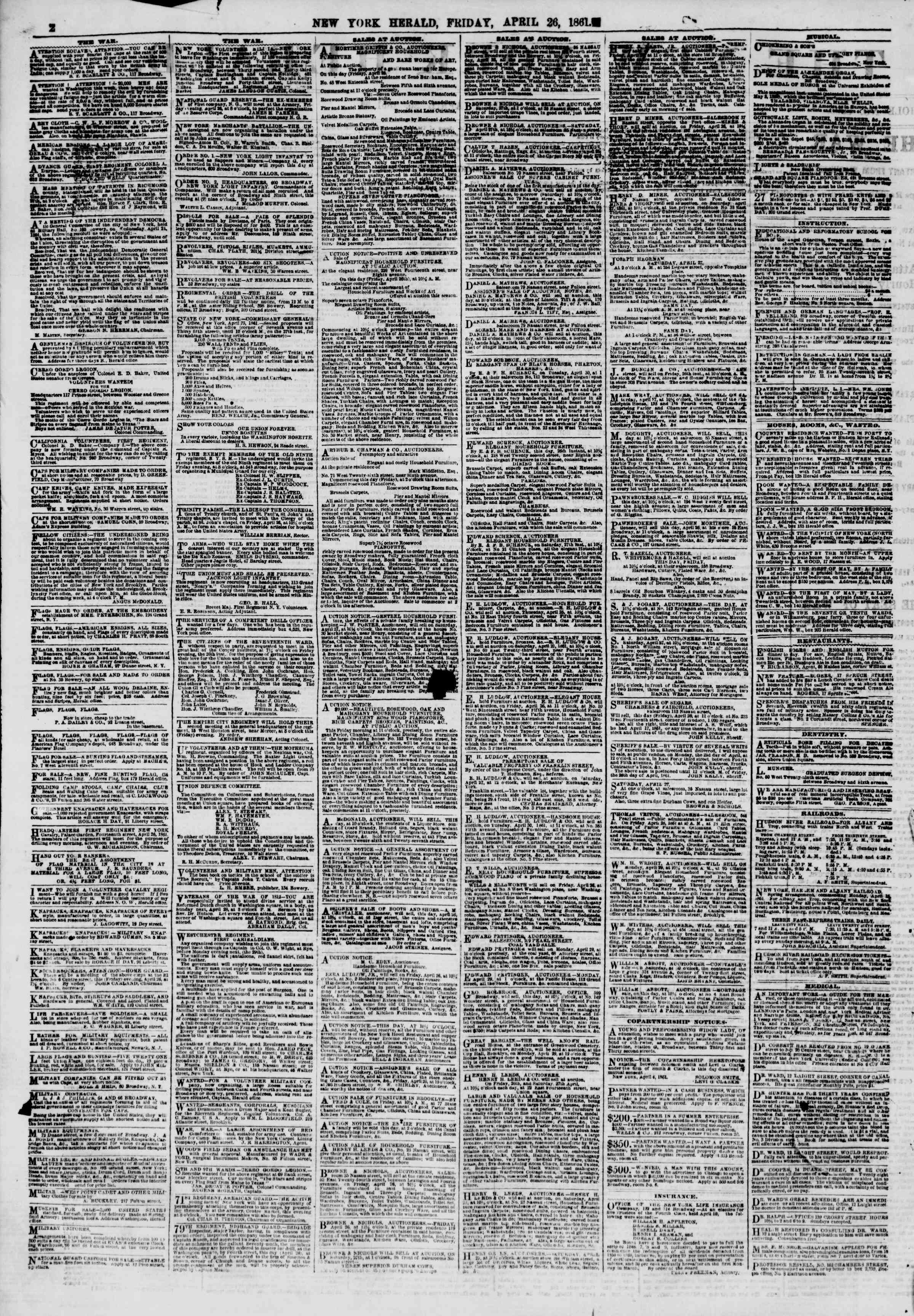 Newspaper of The New York Herald dated April 26, 1861 Page 2