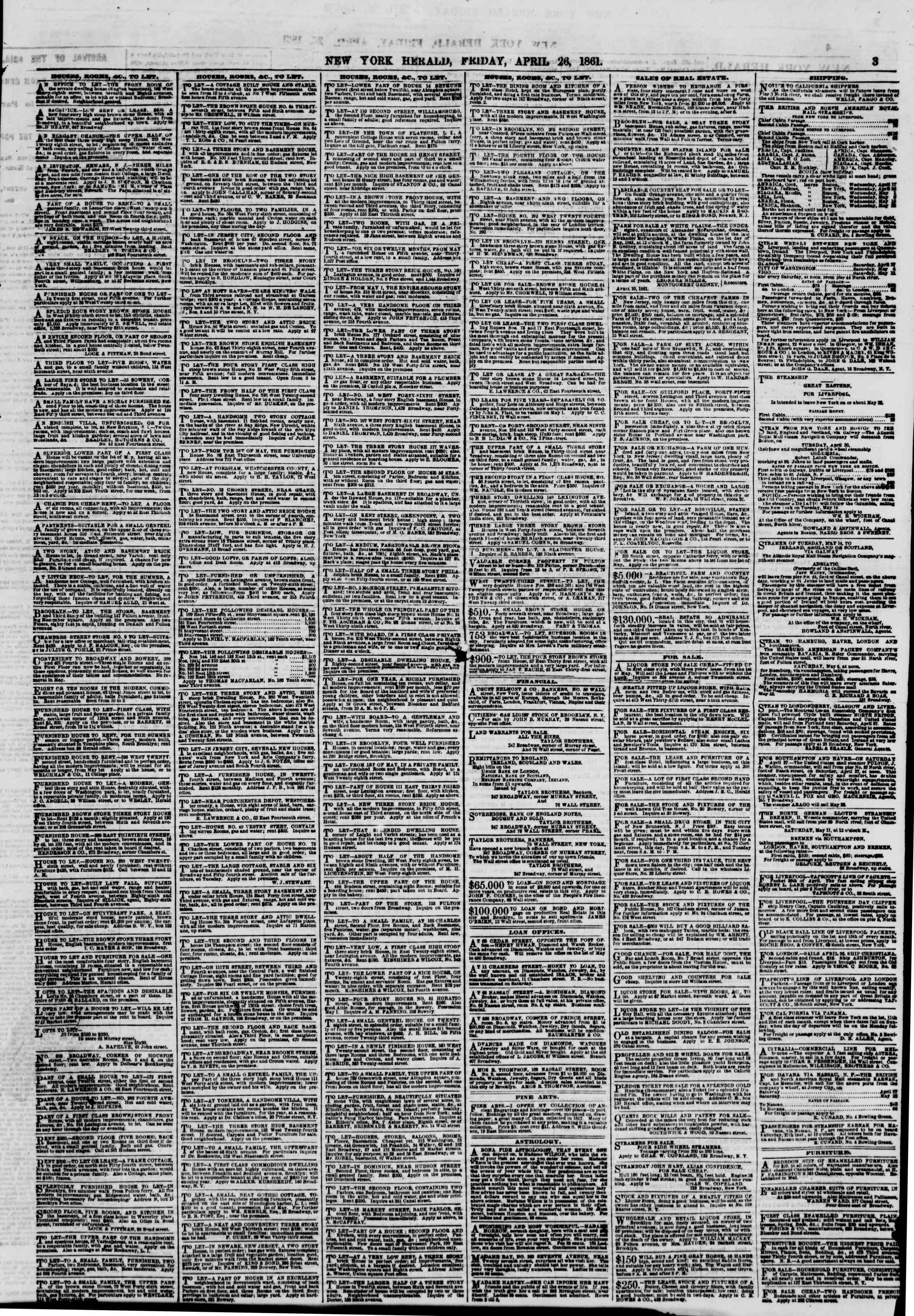 Newspaper of The New York Herald dated April 26, 1861 Page 3