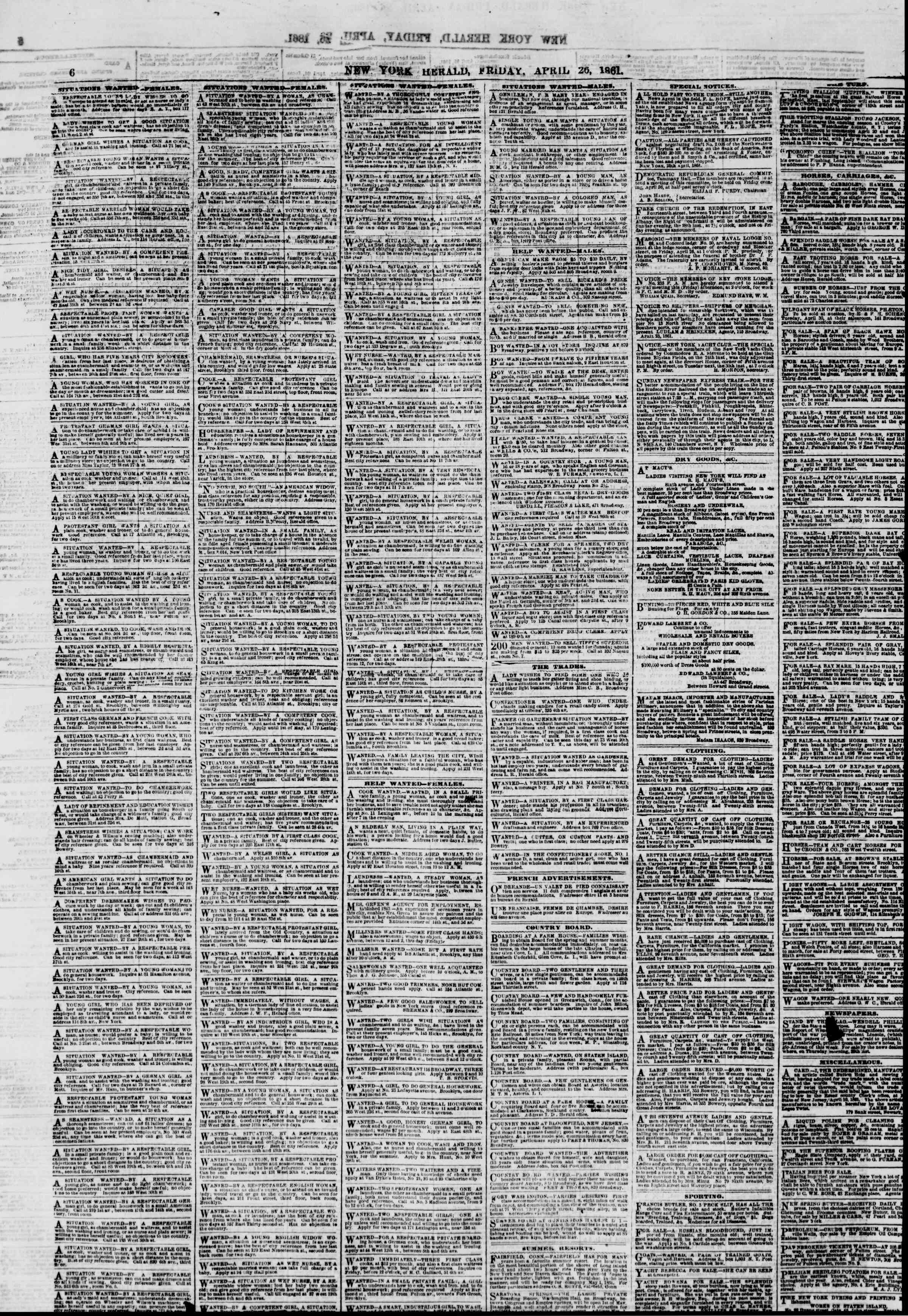Newspaper of The New York Herald dated April 26, 1861 Page 6