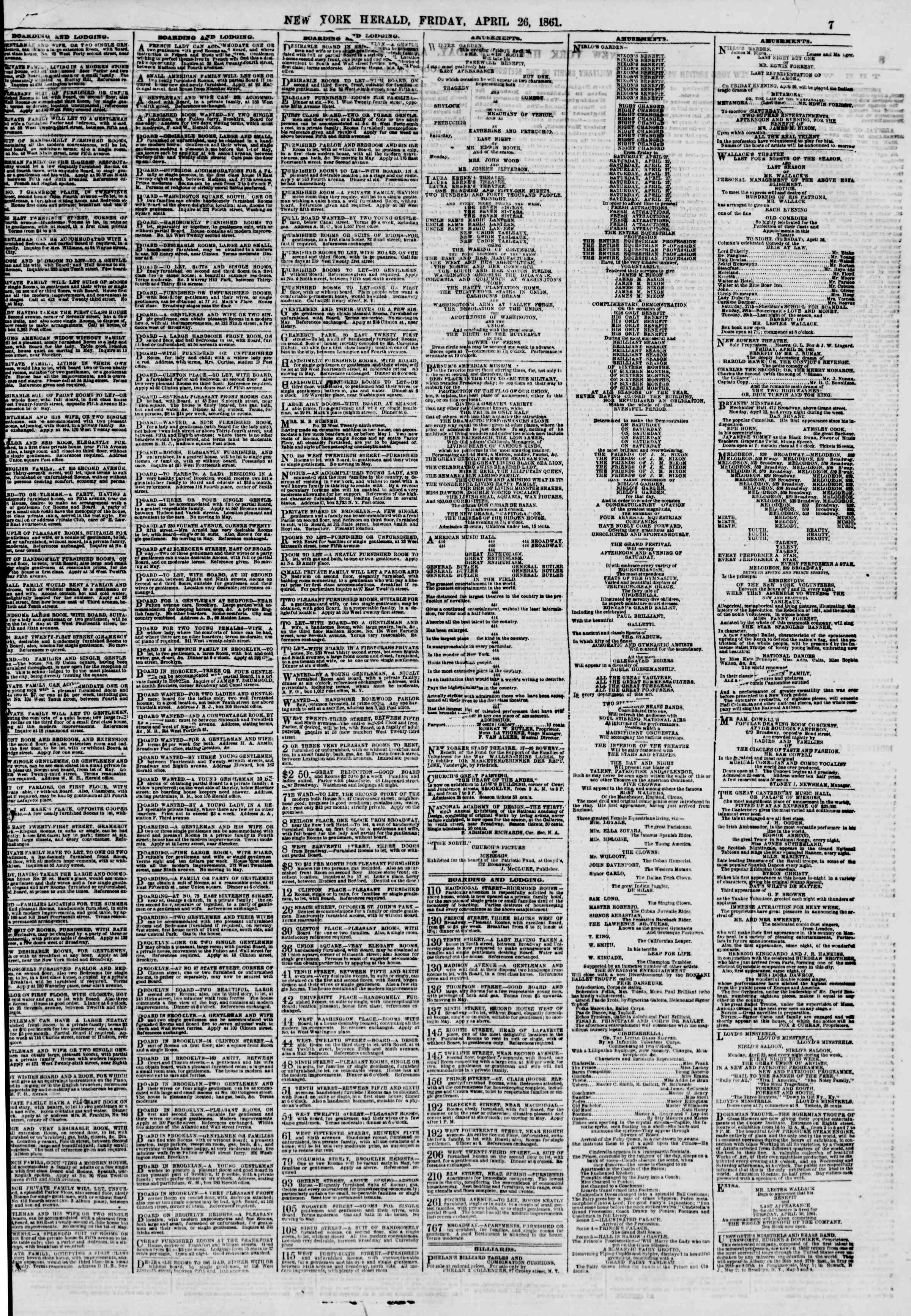 Newspaper of The New York Herald dated April 26, 1861 Page 7