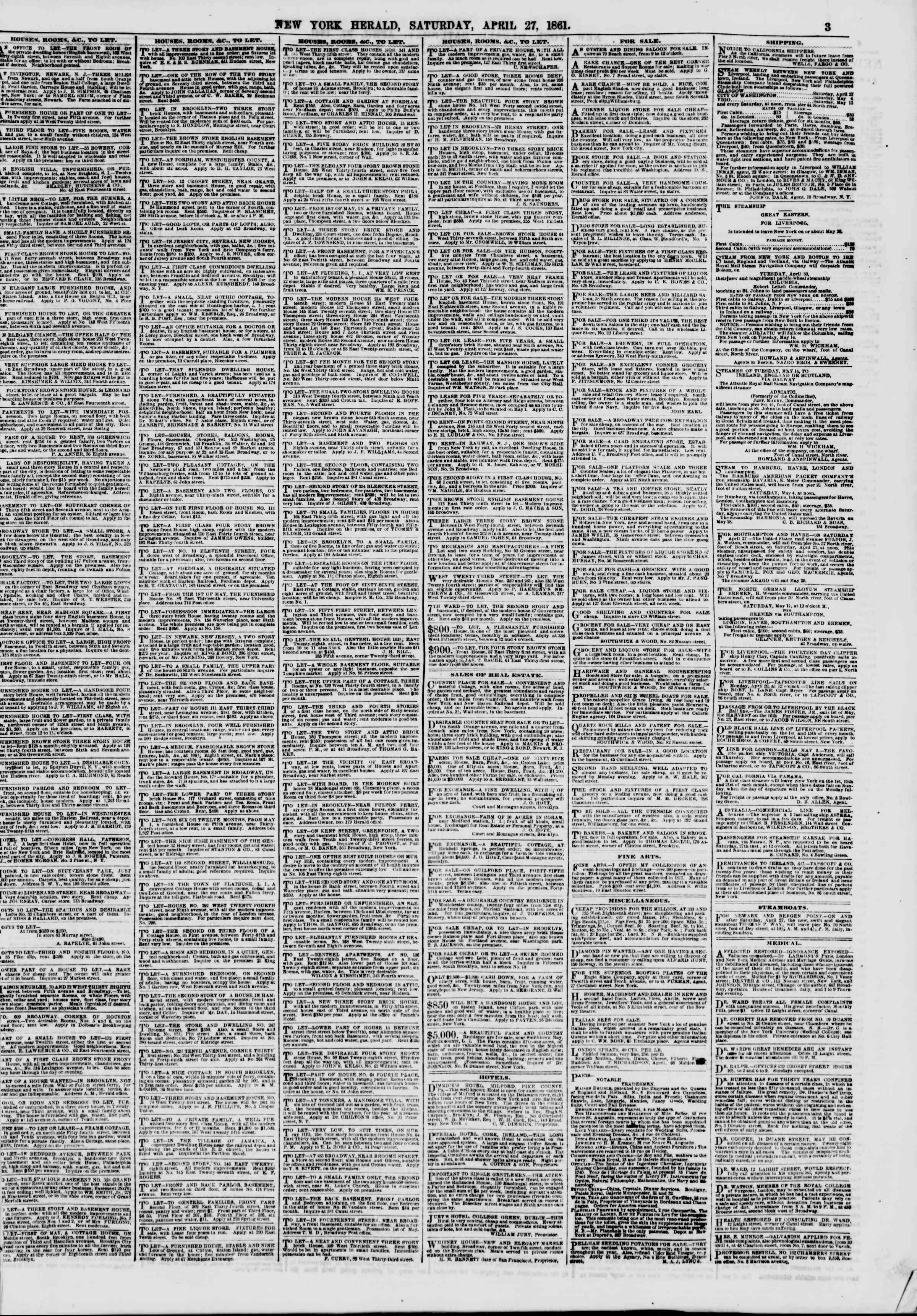 Newspaper of The New York Herald dated April 27, 1861 Page 3