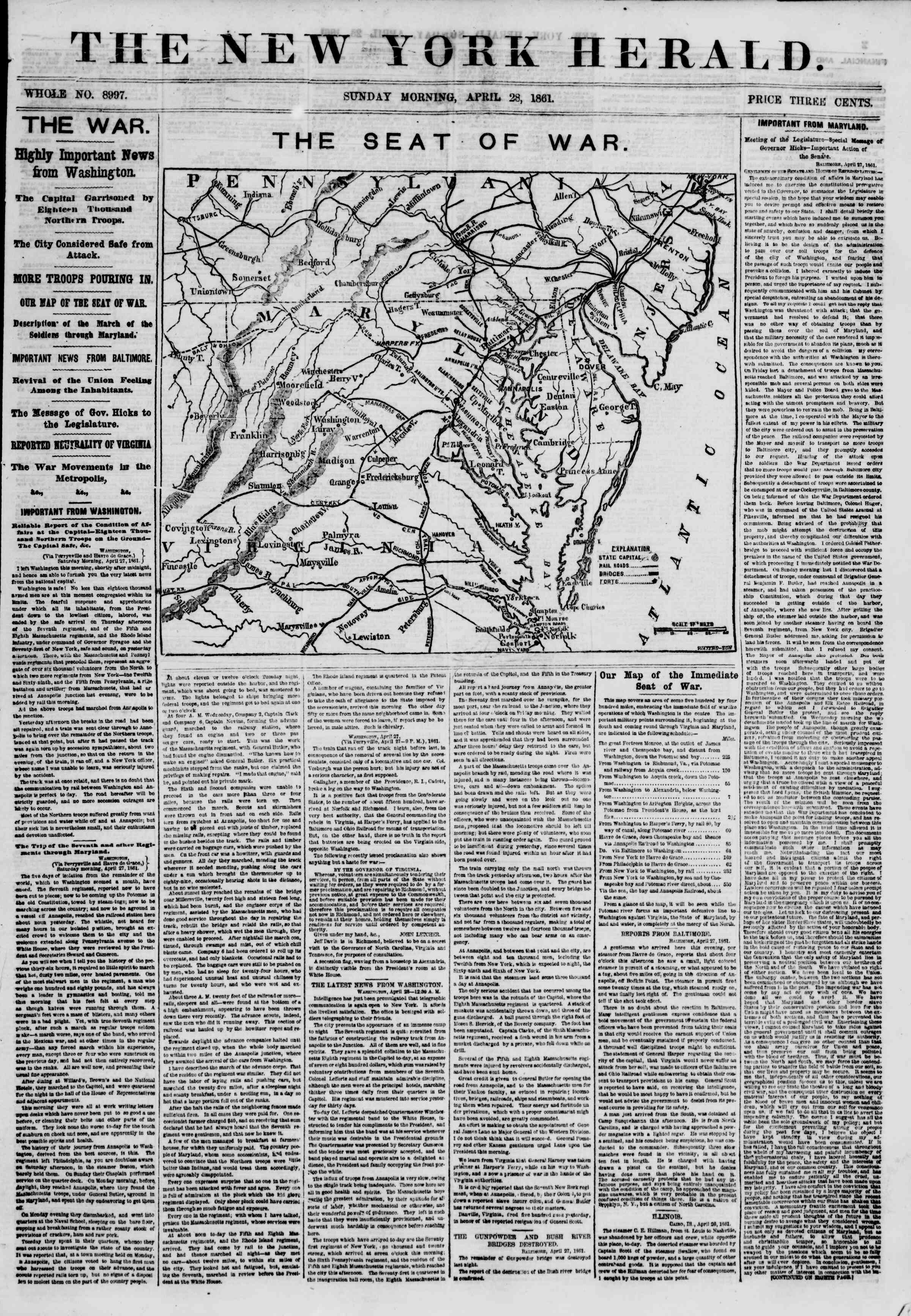 Newspaper of The New York Herald dated April 28, 1861 Page 1