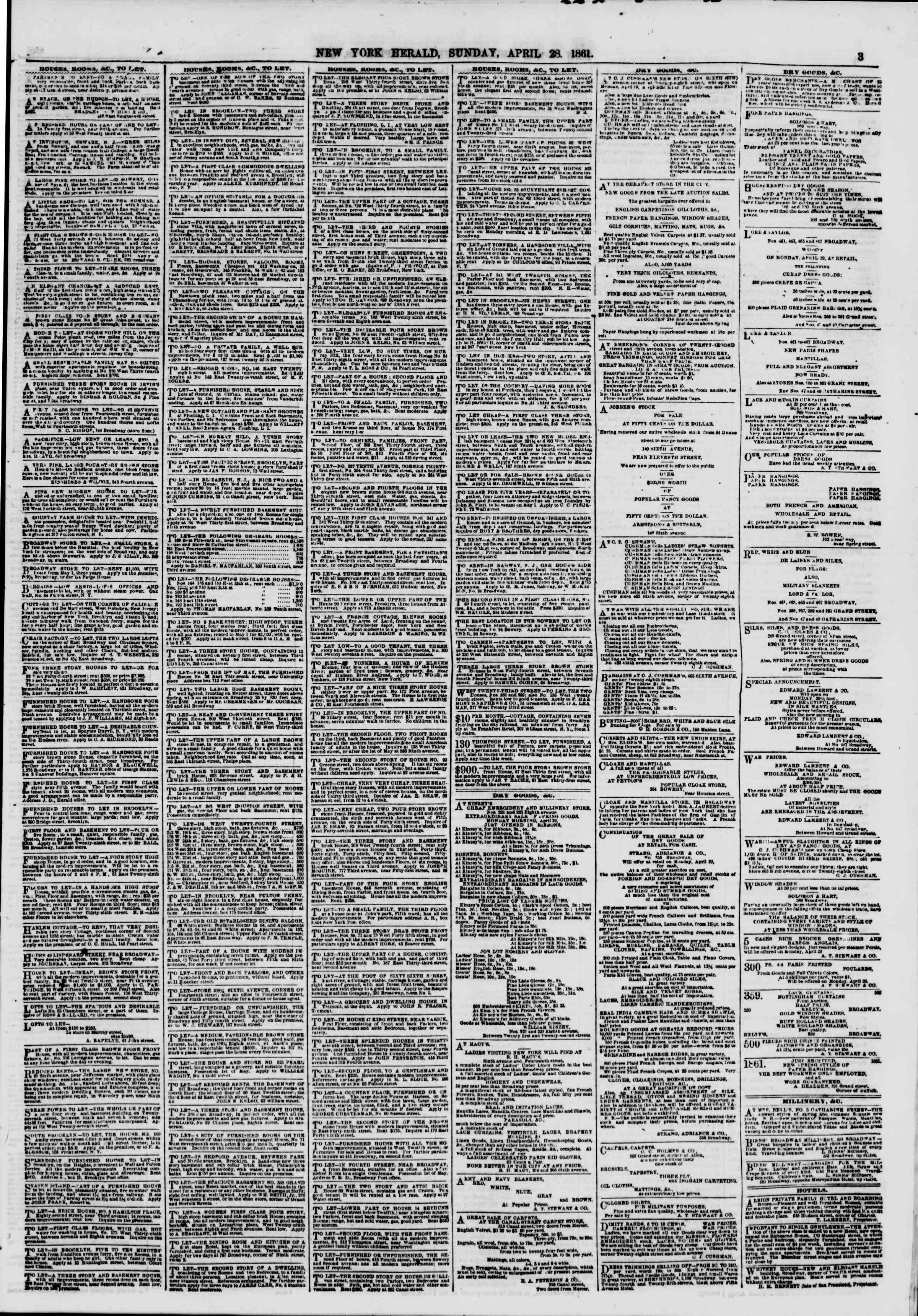 Newspaper of The New York Herald dated April 28, 1861 Page 3