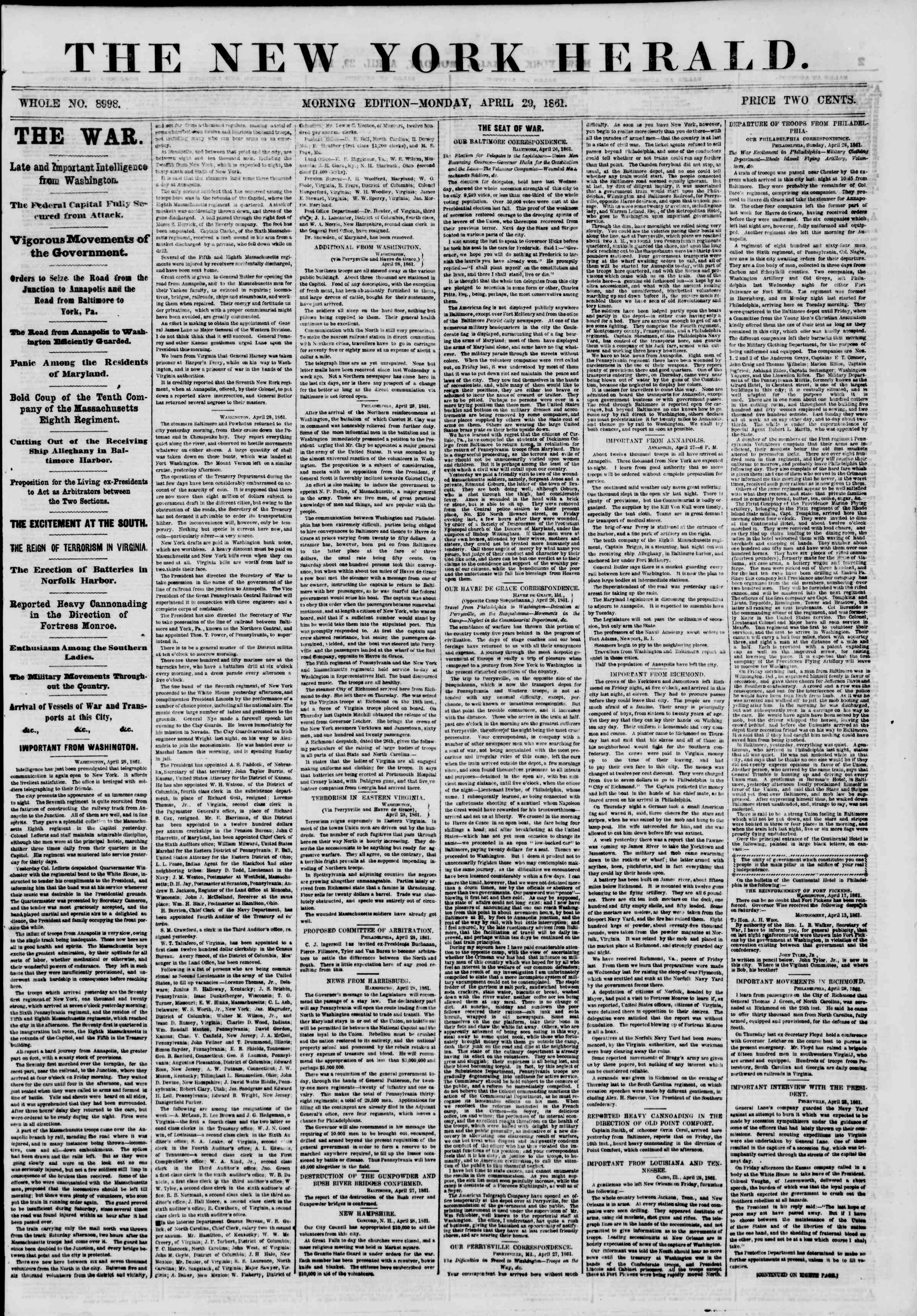 Newspaper of The New York Herald dated April 29, 1861 Page 1
