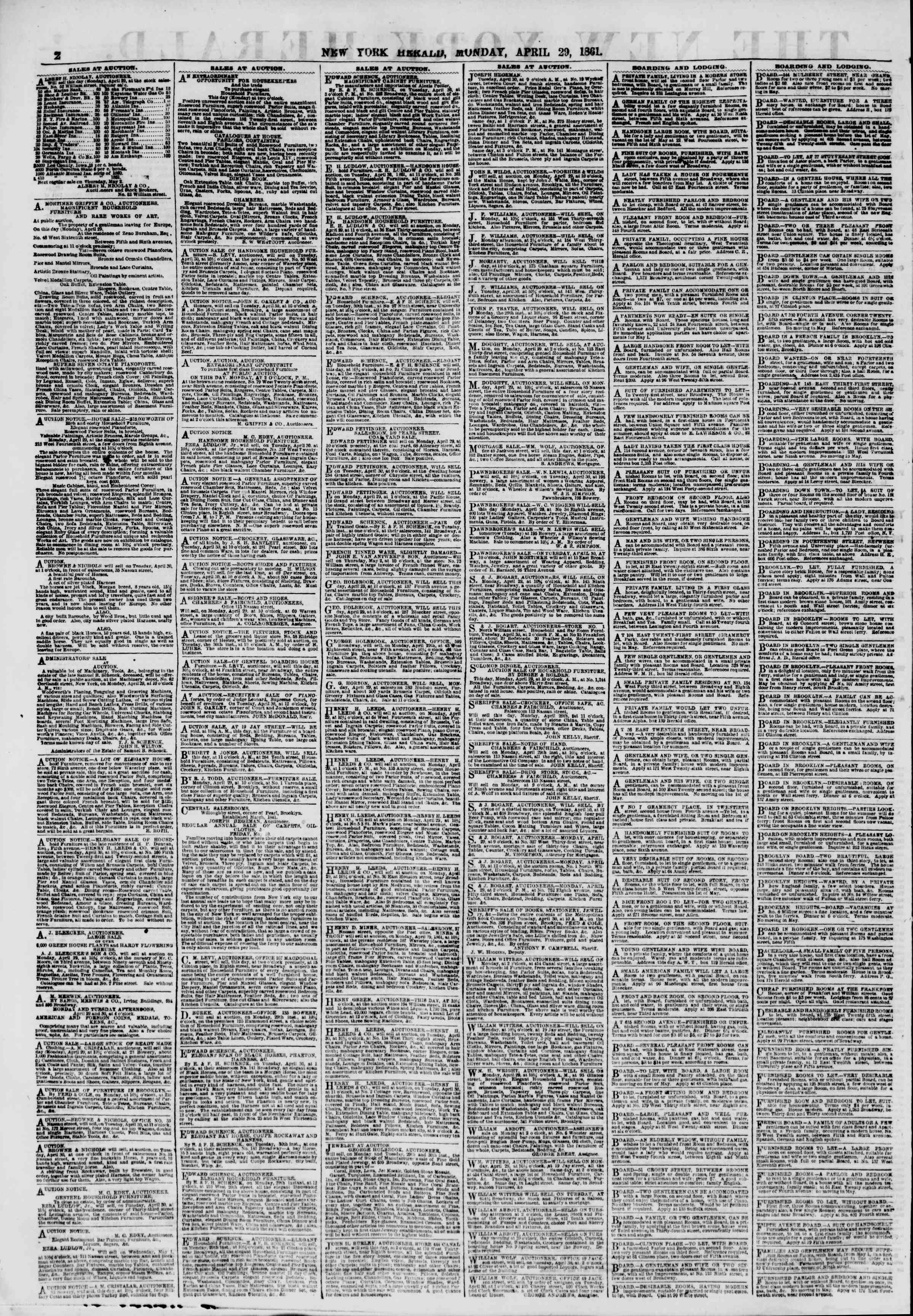 Newspaper of The New York Herald dated April 29, 1861 Page 2