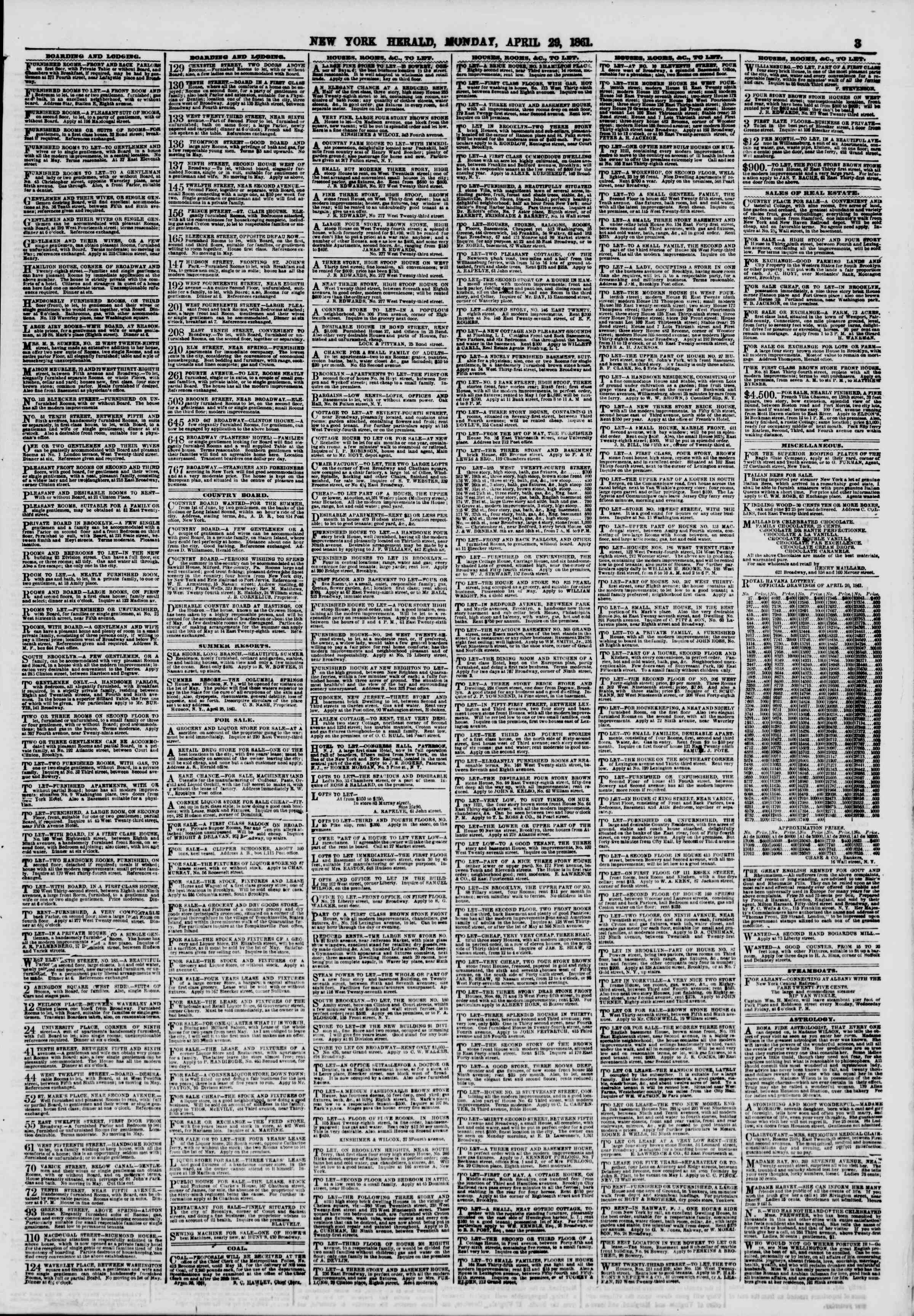 Newspaper of The New York Herald dated 29 Nisan 1861 Page 3