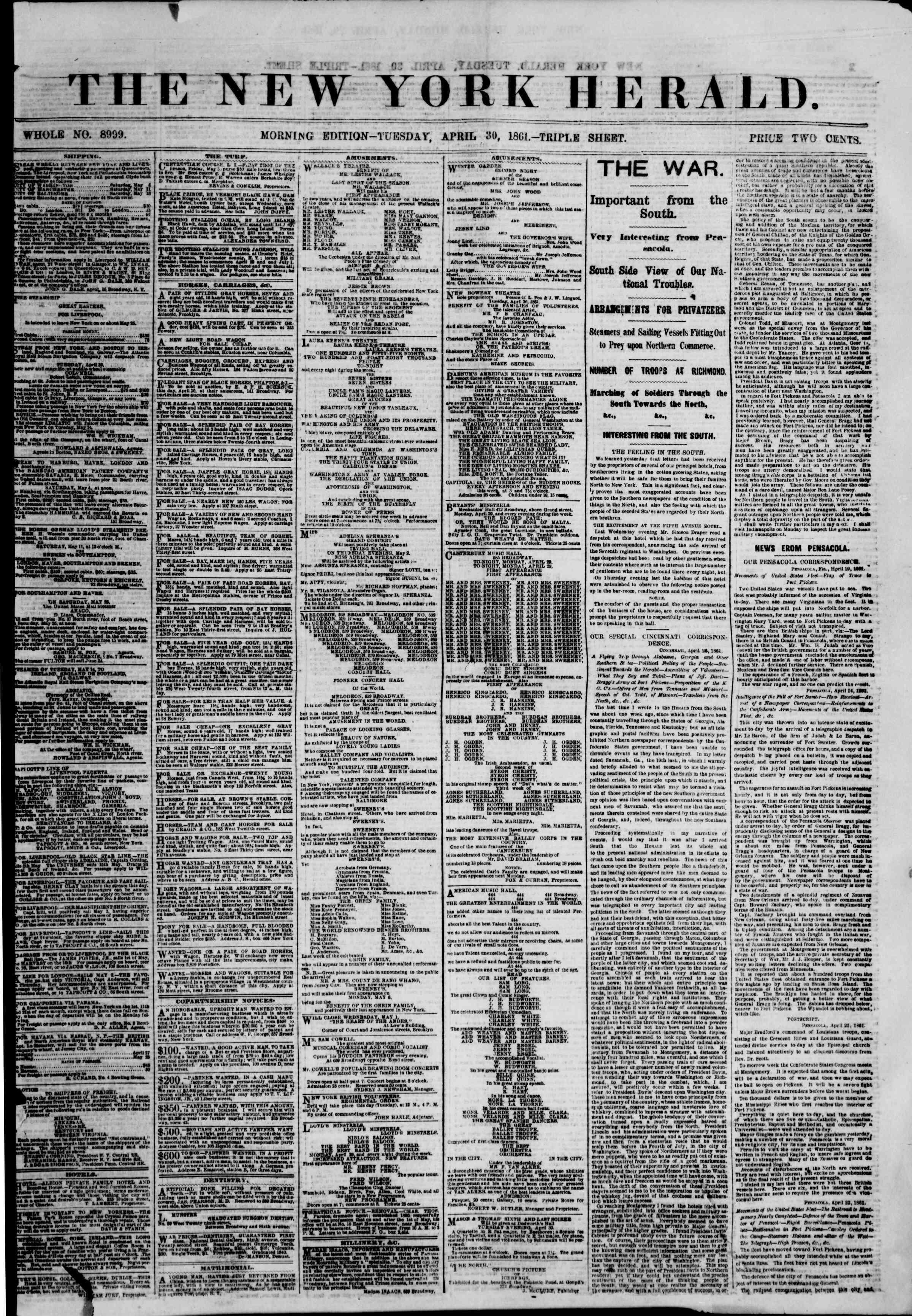 30 Nisan 1861 tarihli The New York Herald Gazetesi Sayfa 1