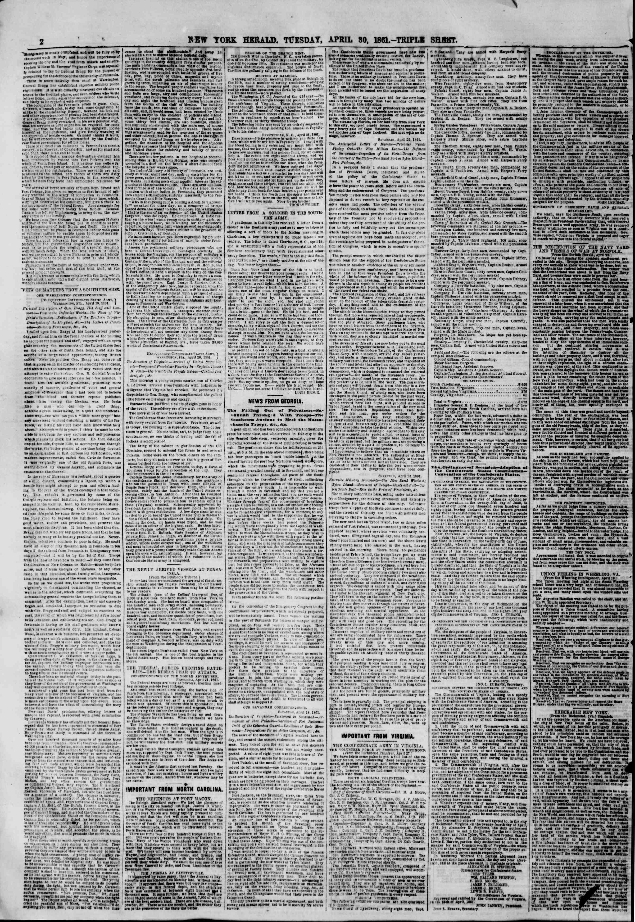 Newspaper of The New York Herald dated April 30, 1861 Page 2