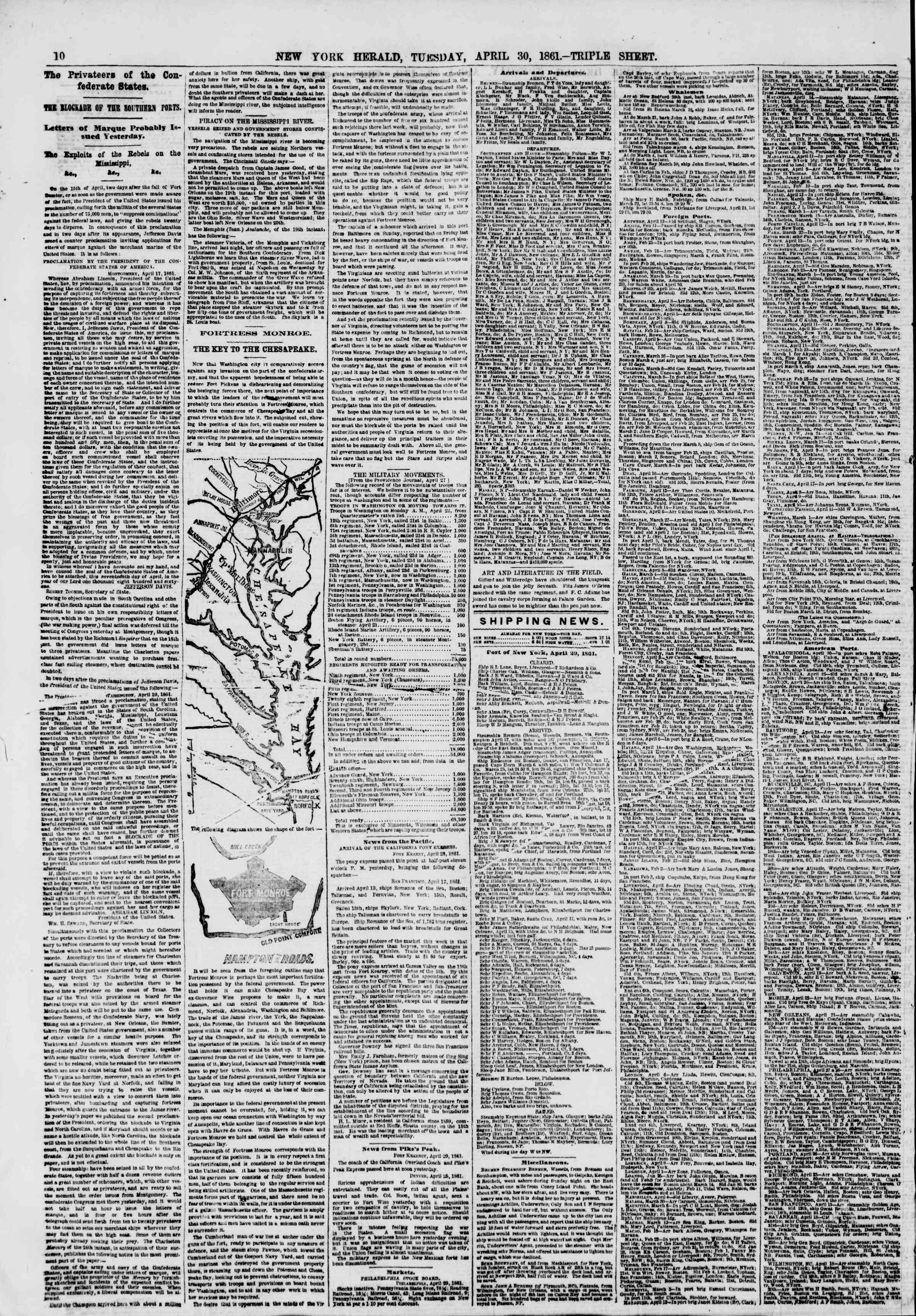 Newspaper of The New York Herald dated April 30, 1861 Page 12