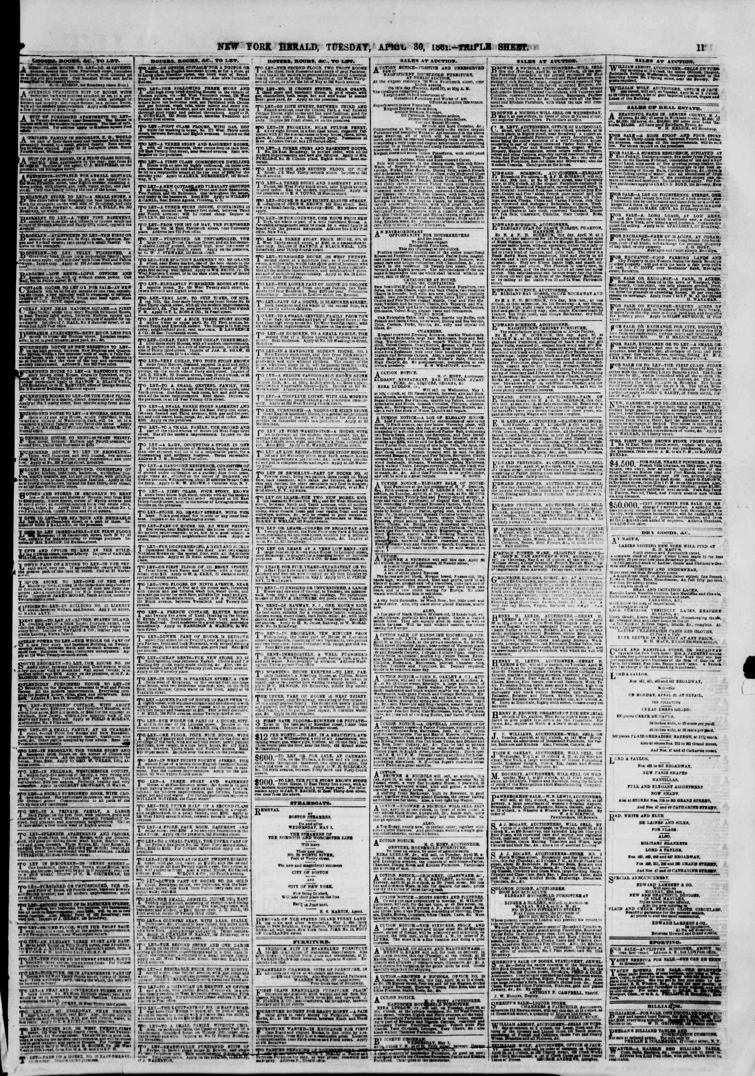 Newspaper of The New York Herald dated April 30, 1861 Page 13