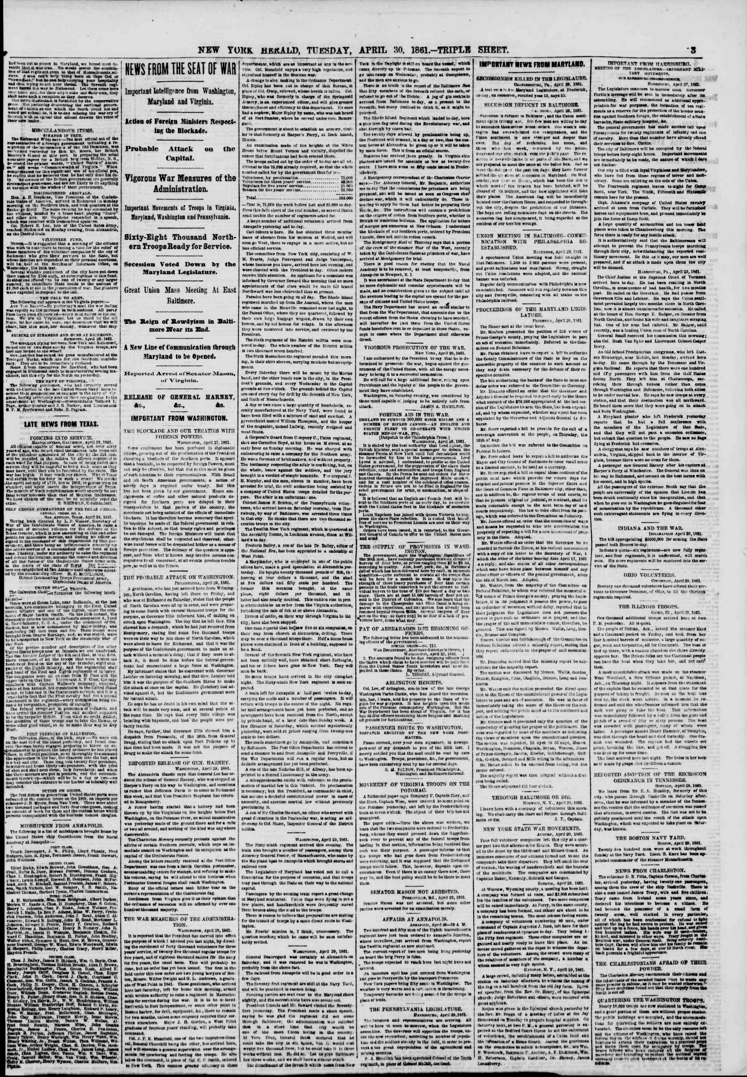 Newspaper of The New York Herald dated April 30, 1861 Page 3