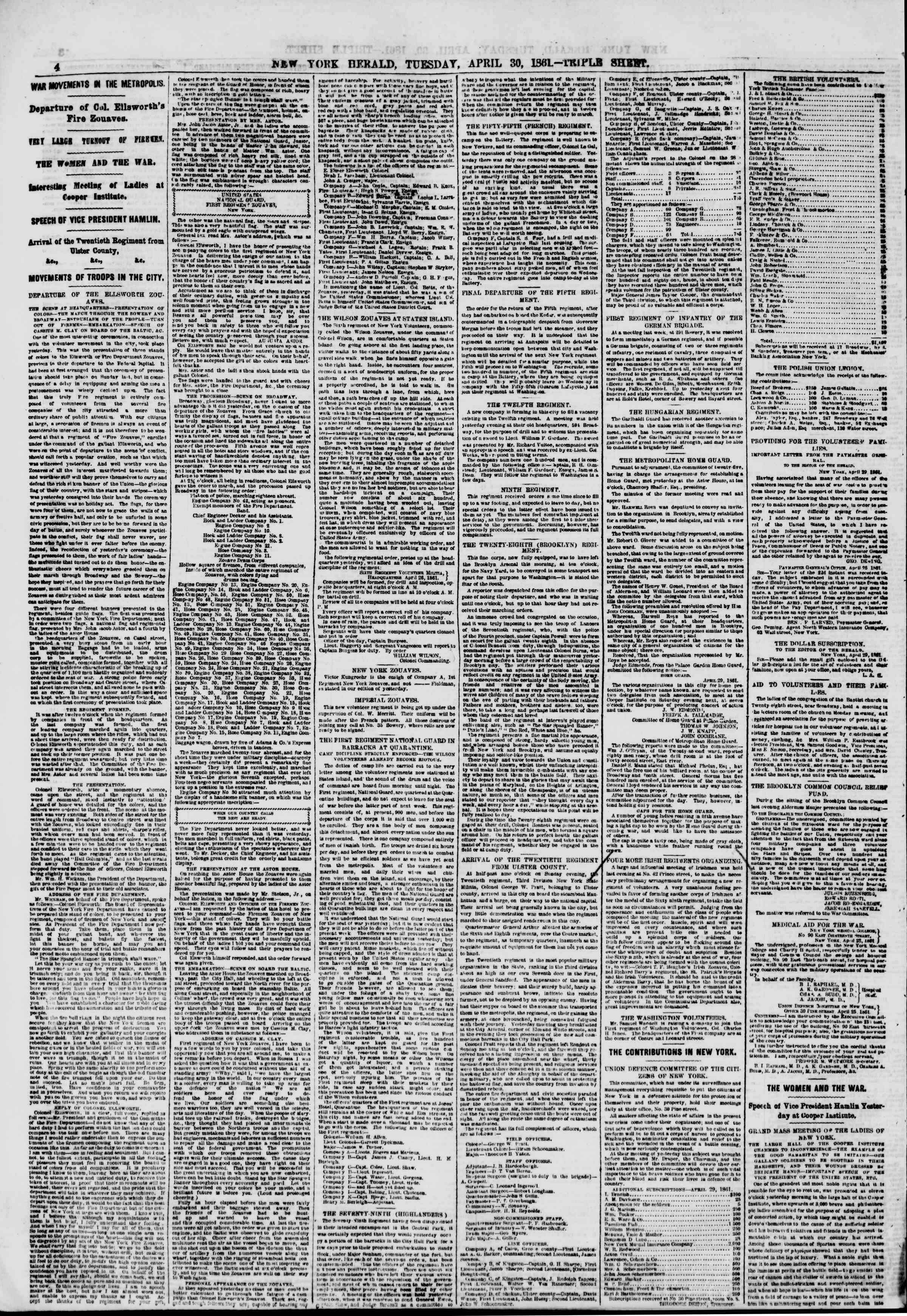 Newspaper of The New York Herald dated April 30, 1861 Page 4
