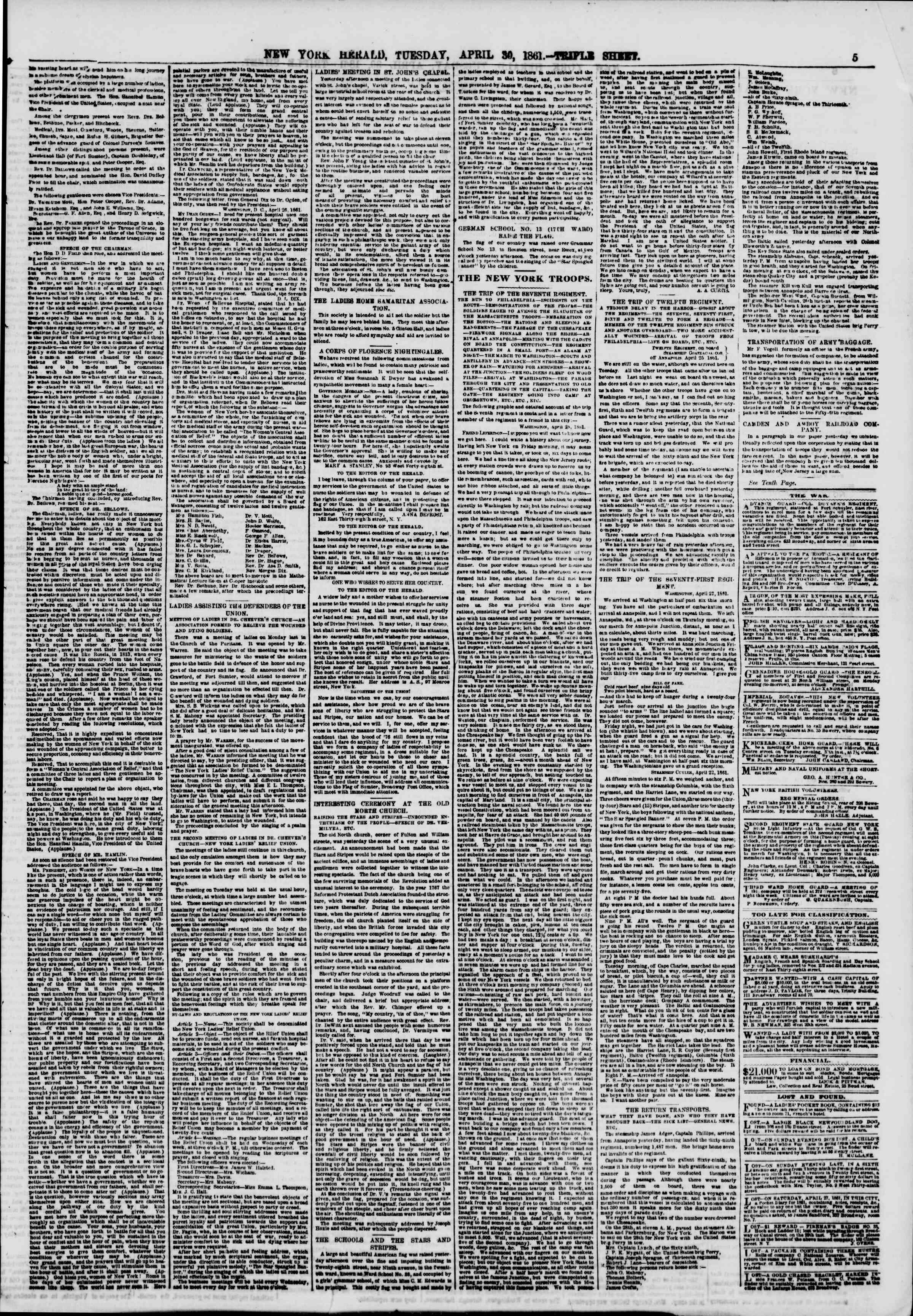 Newspaper of The New York Herald dated April 30, 1861 Page 5