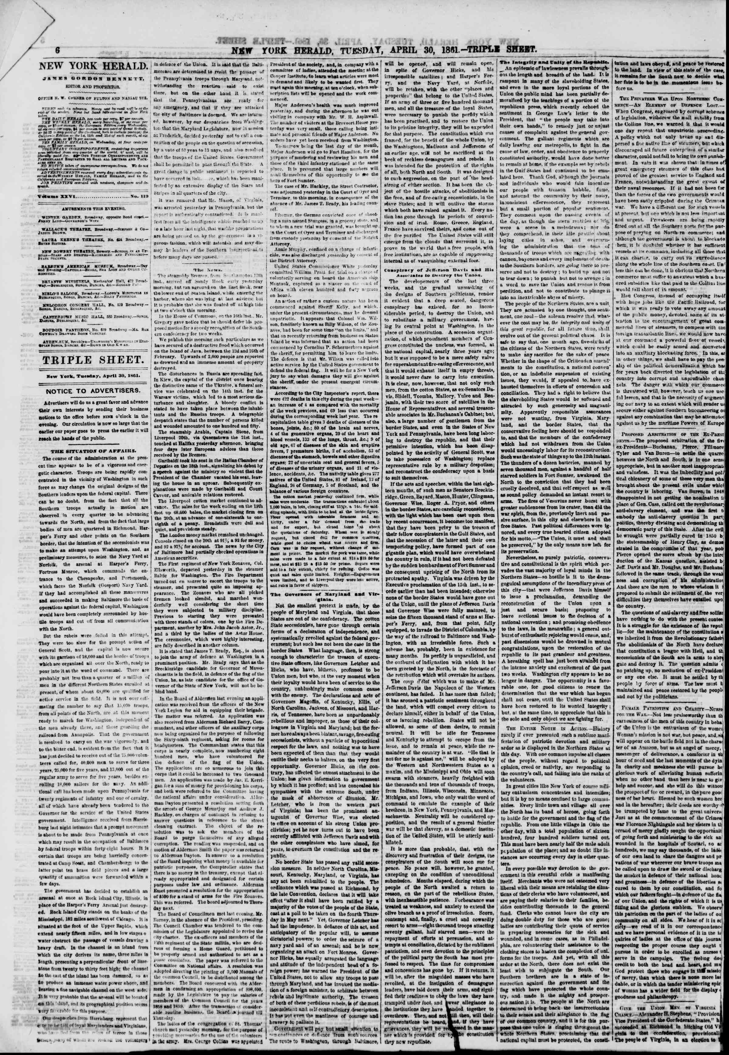 Newspaper of The New York Herald dated April 30, 1861 Page 6