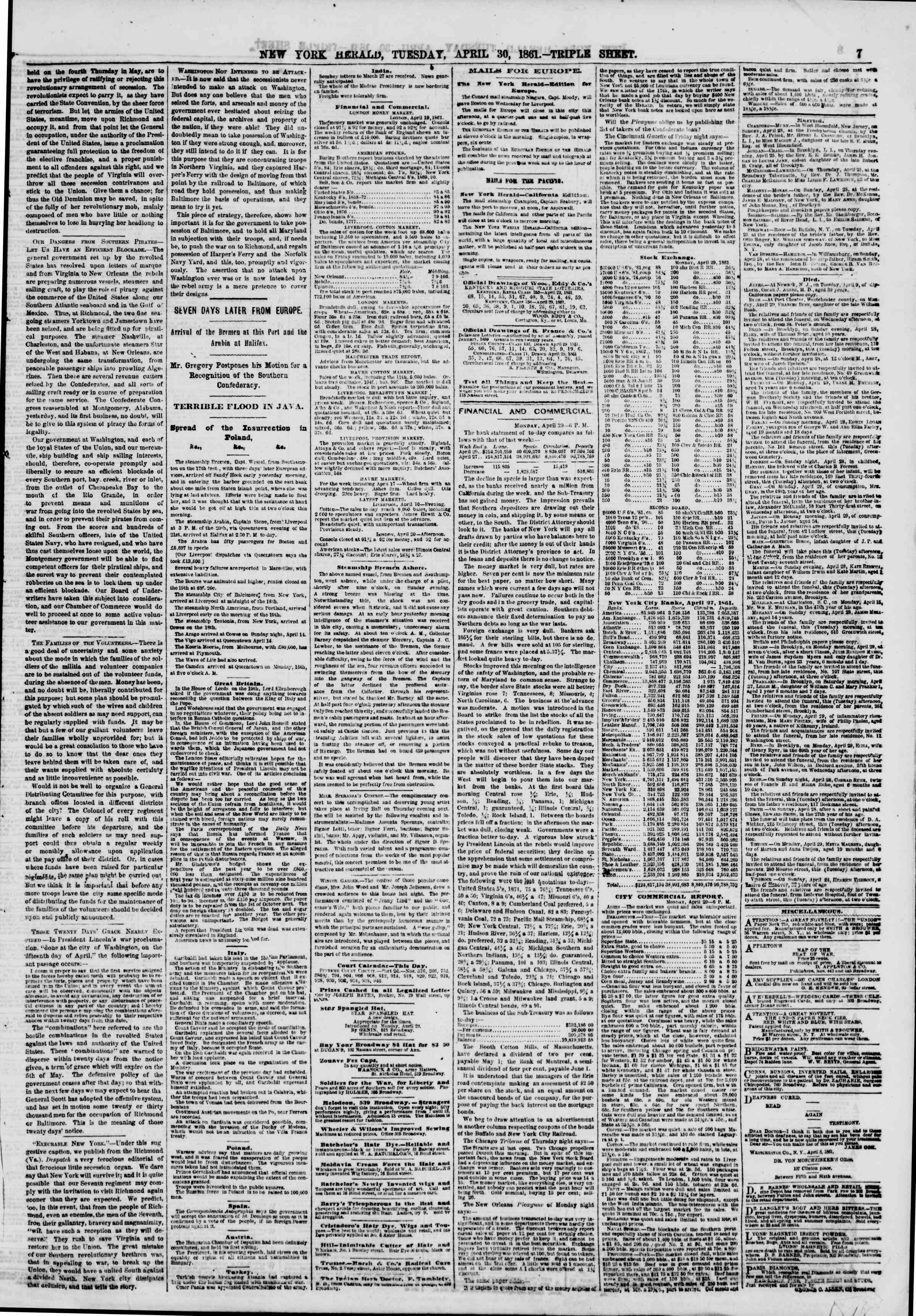 Newspaper of The New York Herald dated April 30, 1861 Page 9