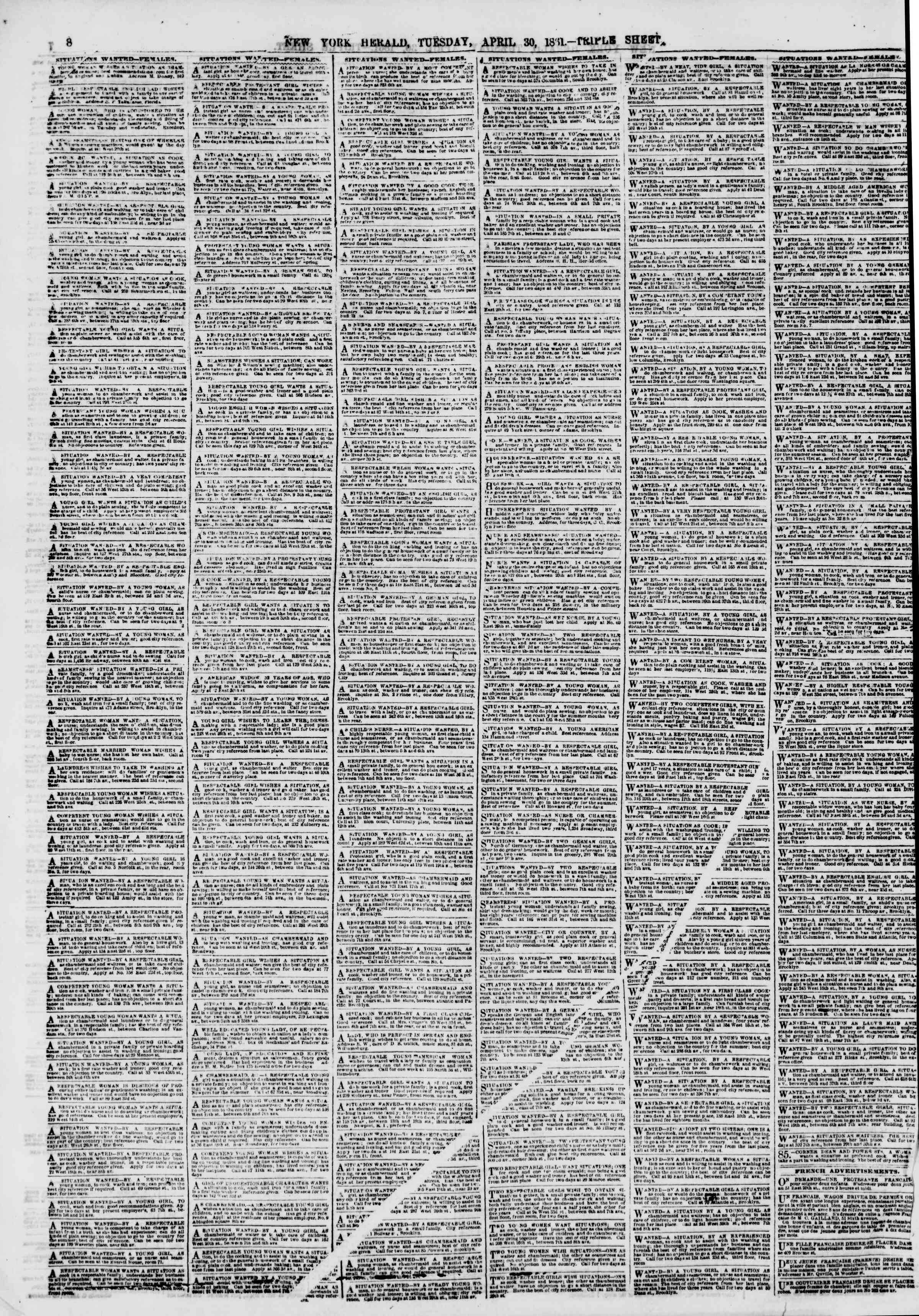 Newspaper of The New York Herald dated April 30, 1861 Page 10