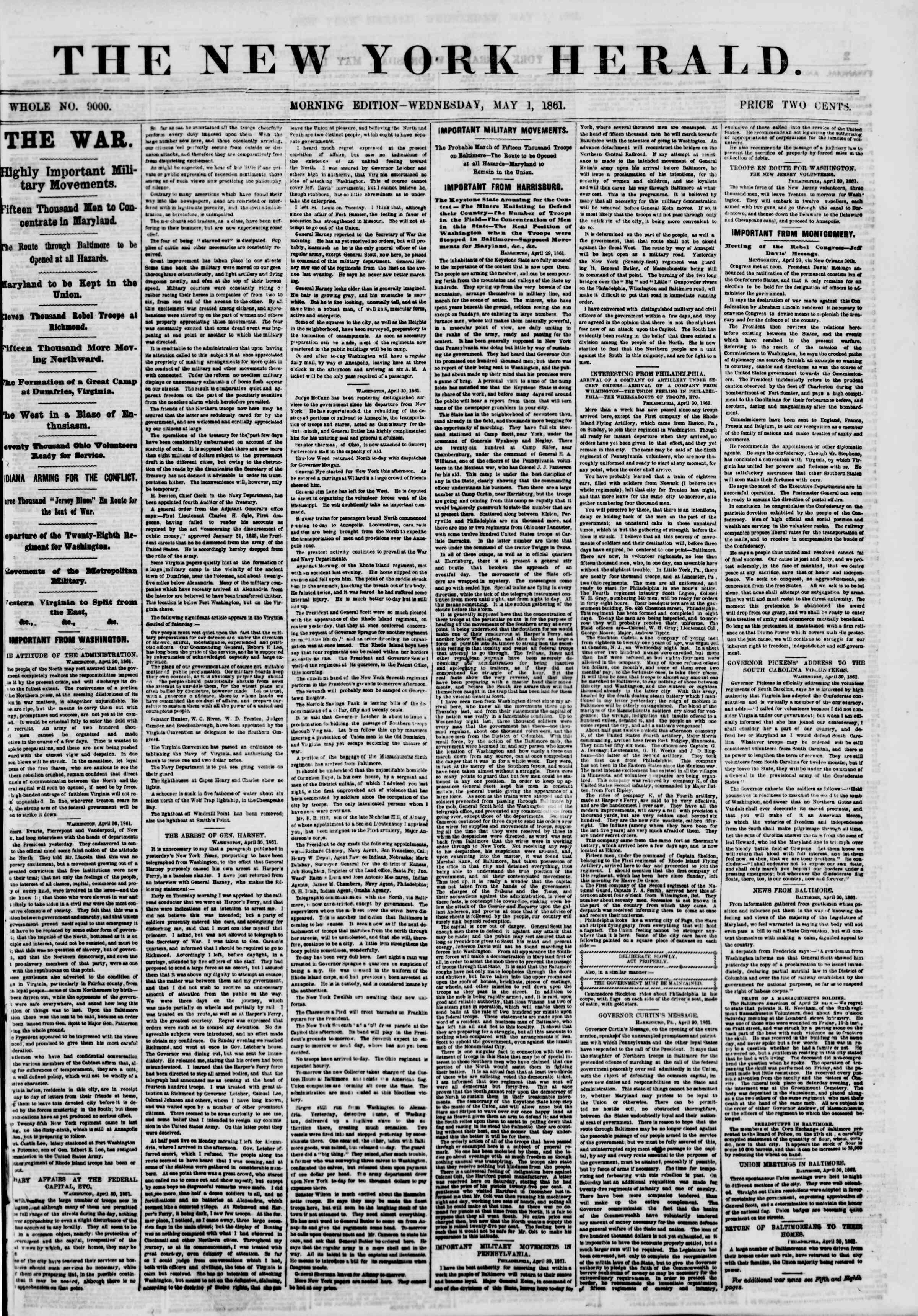 1 Mayıs 1861 tarihli The New York Herald Gazetesi Sayfa 1