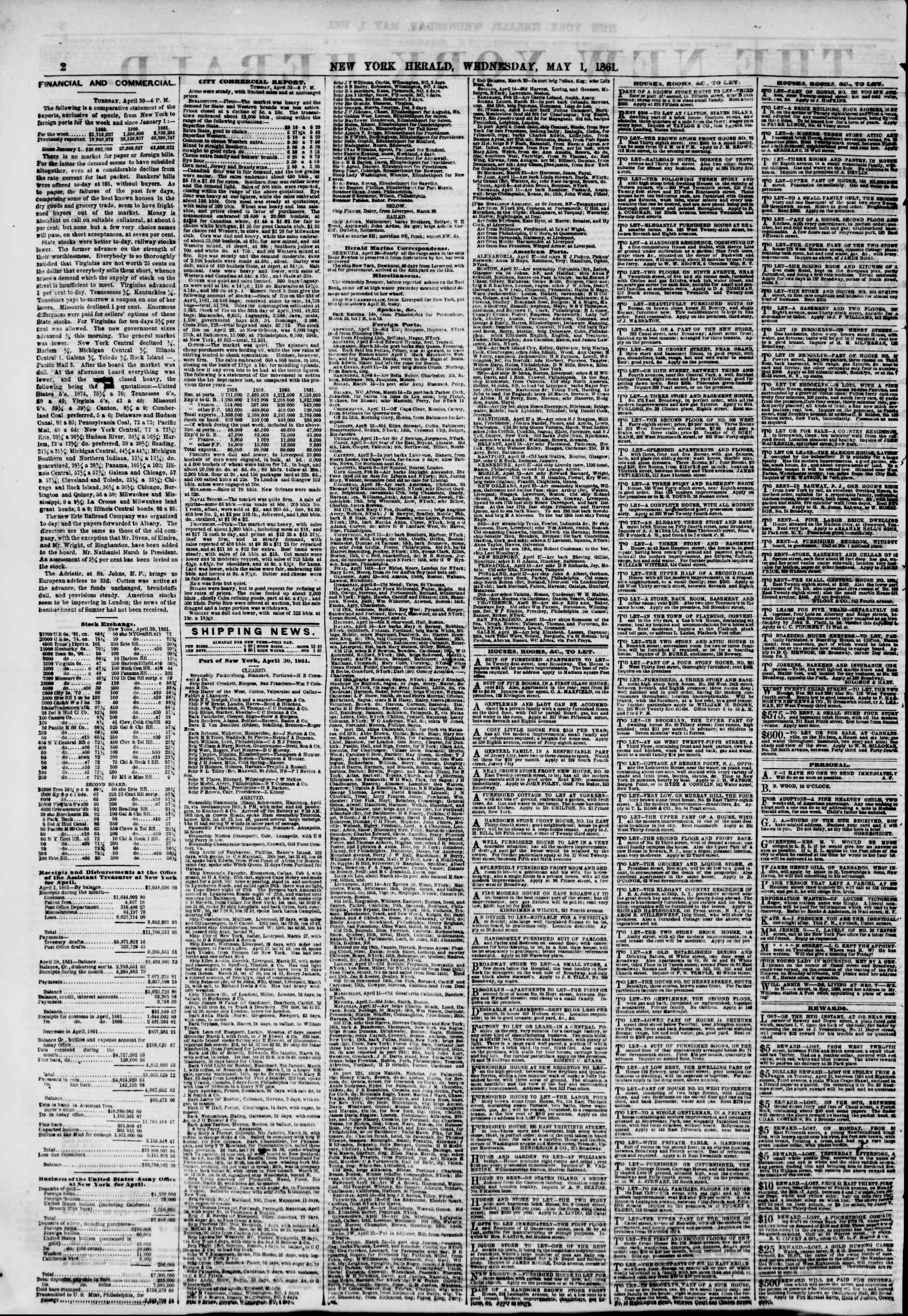 Newspaper of The New York Herald dated May 1, 1861 Page 2