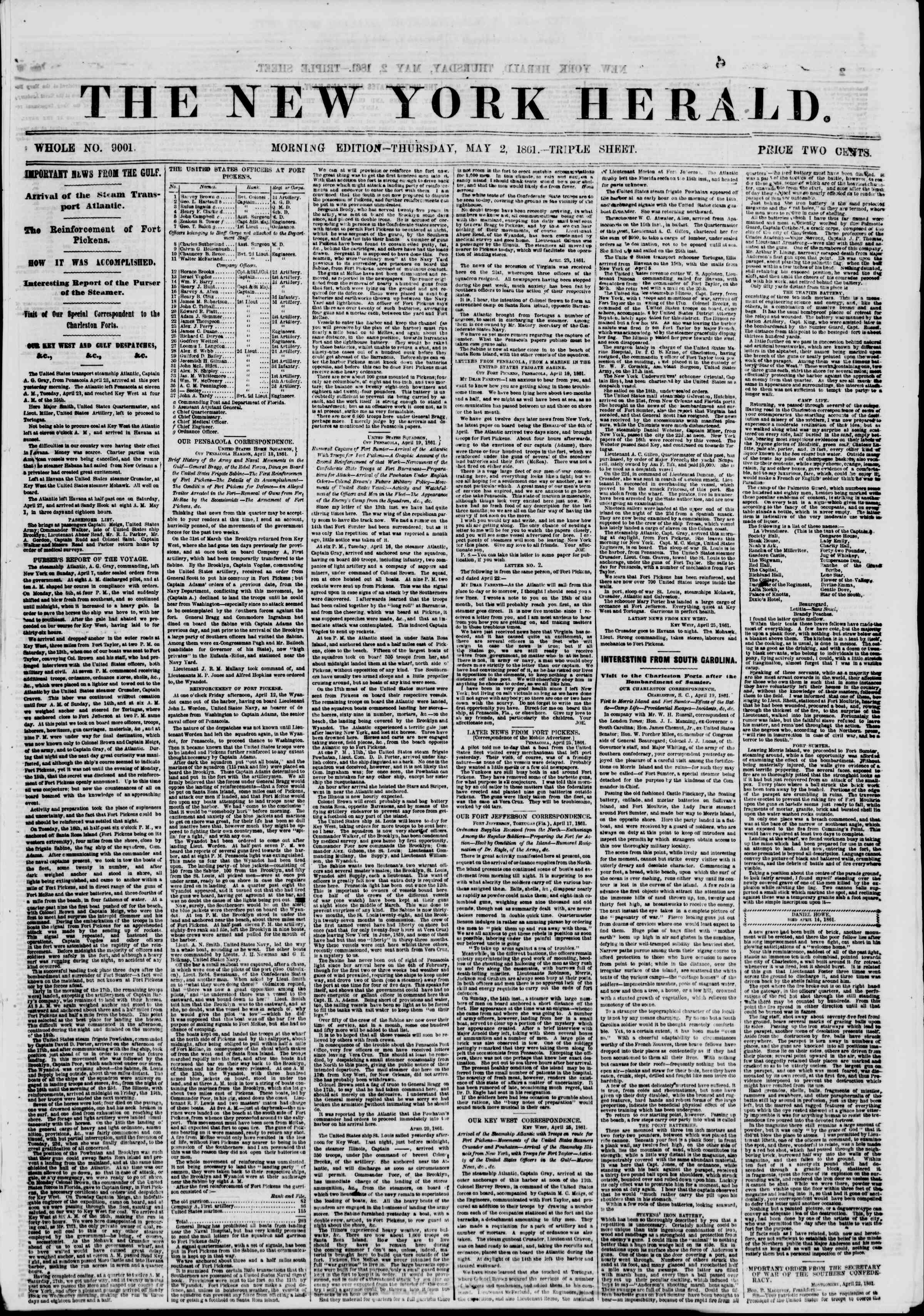 Newspaper of The New York Herald dated May 2, 1861 Page 1