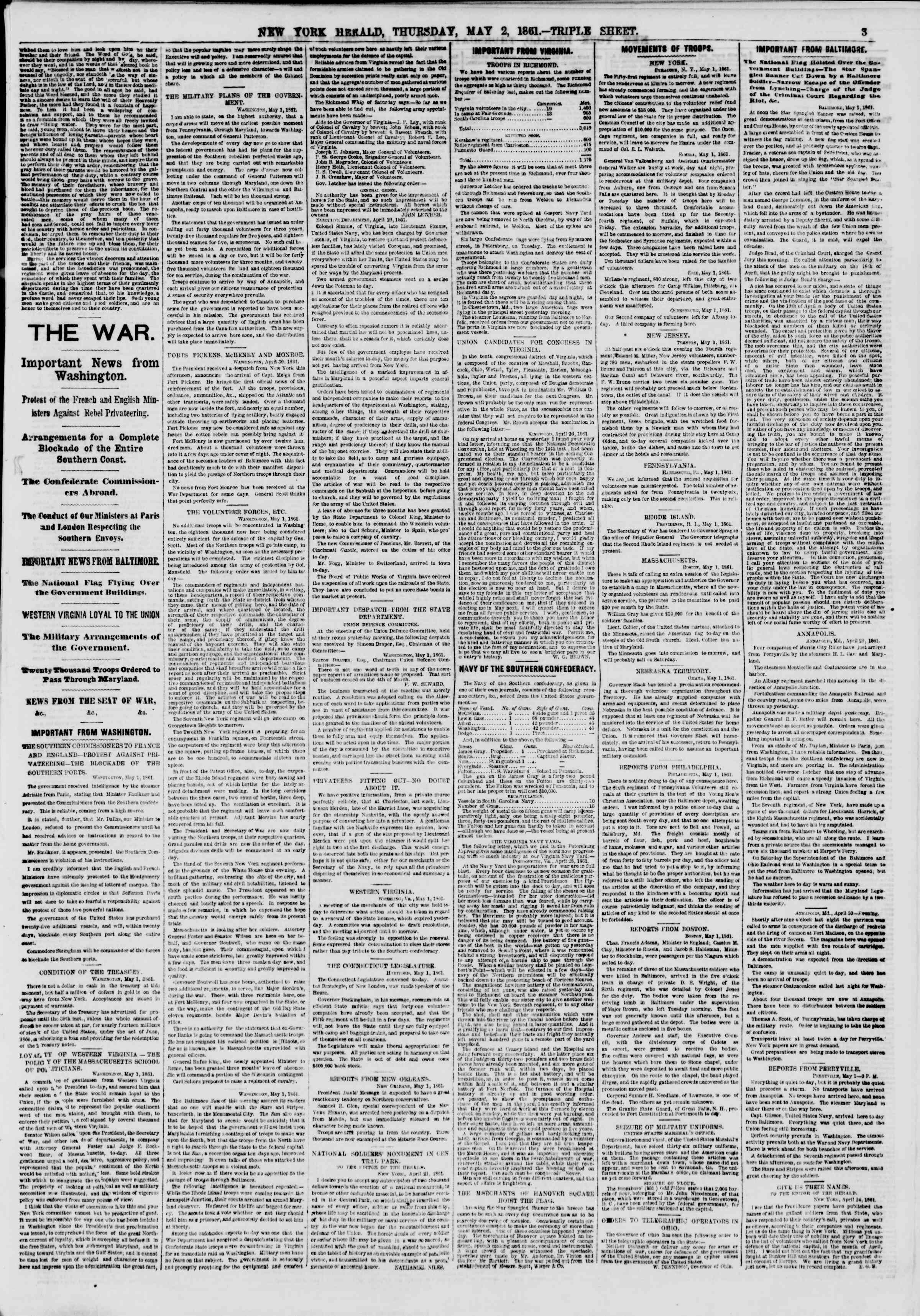 Newspaper of The New York Herald dated May 2, 1861 Page 3