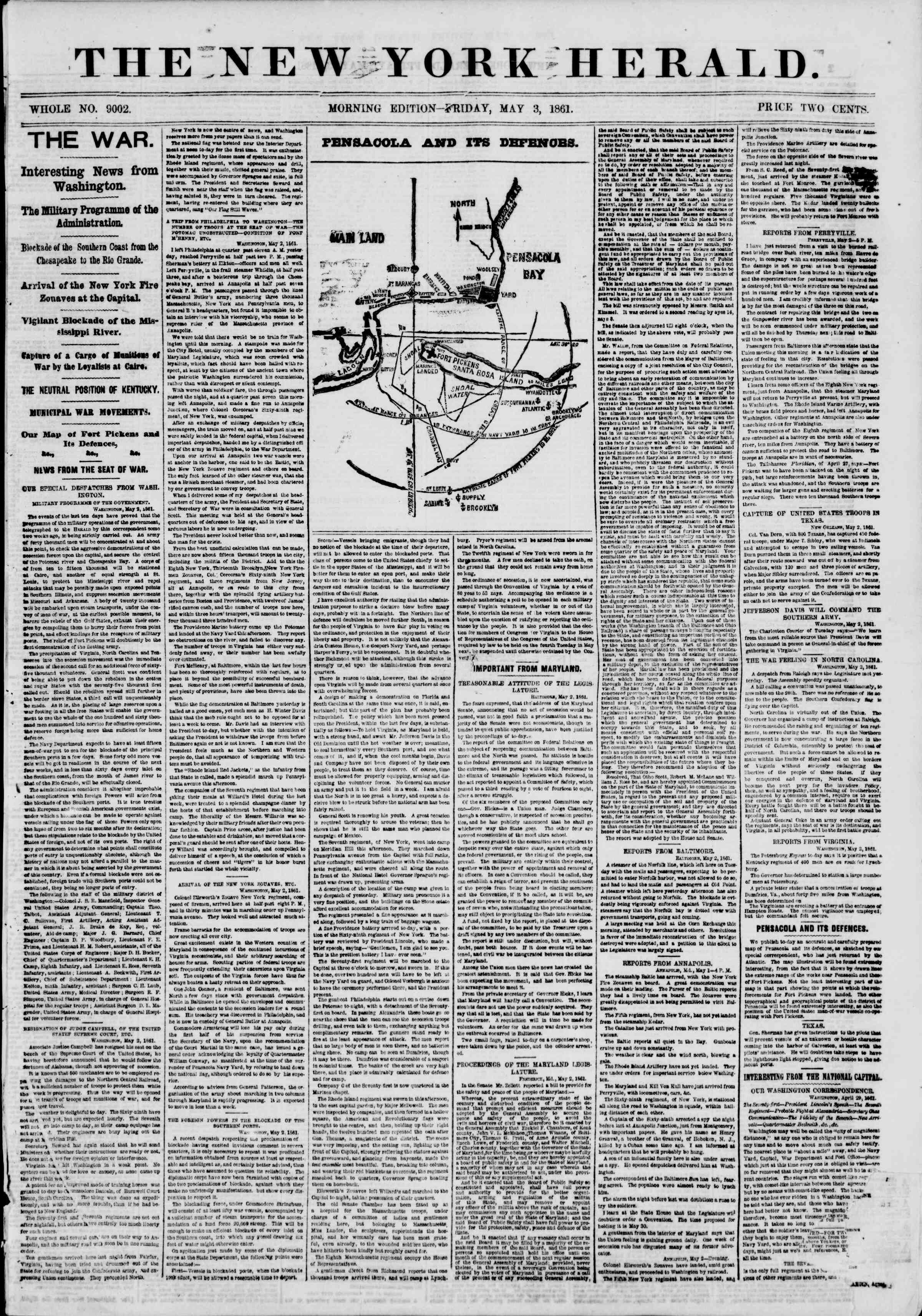 Newspaper of The New York Herald dated 3 Mayıs 1861 Page 1