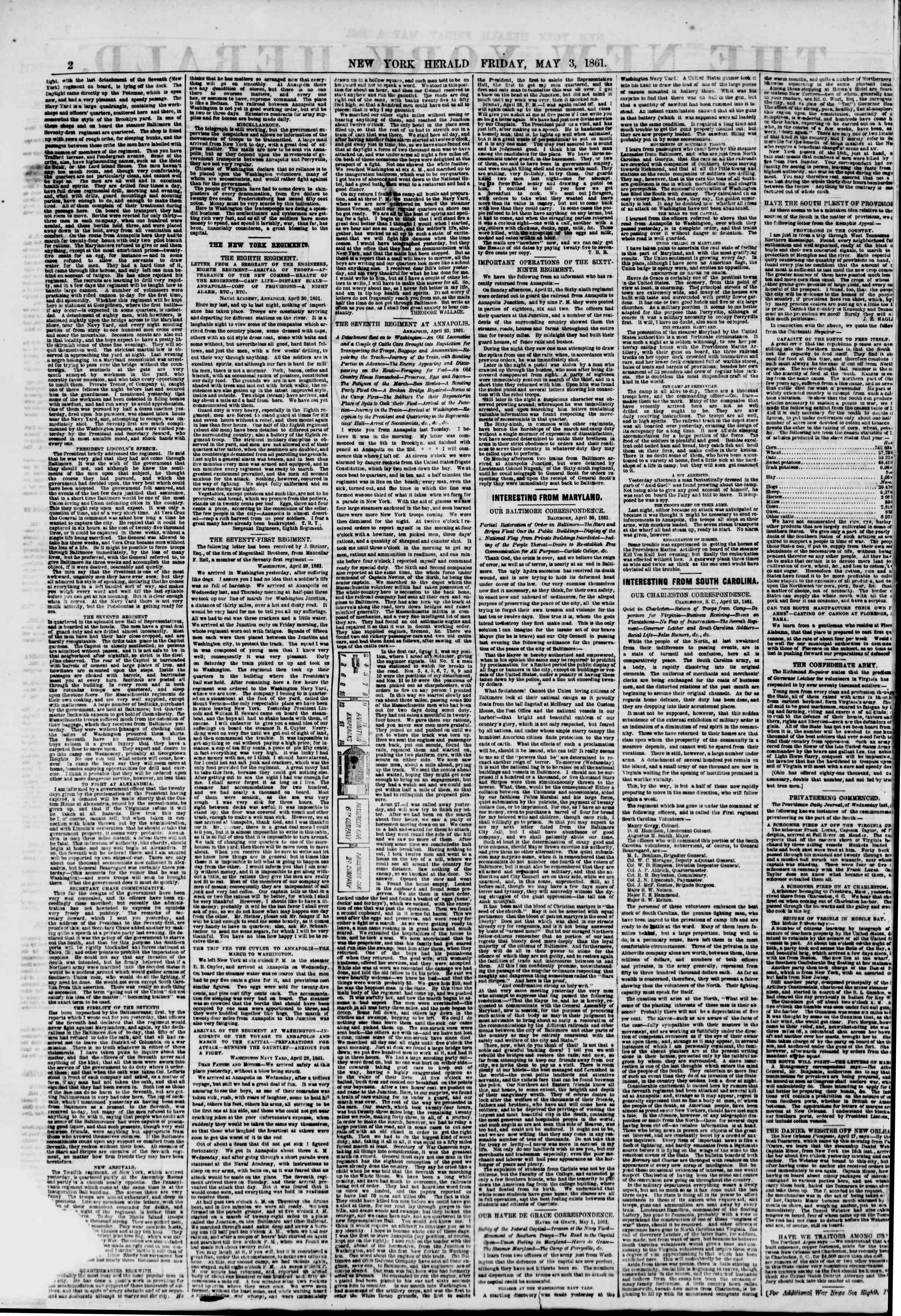 Newspaper of The New York Herald dated May 3, 1861 Page 2