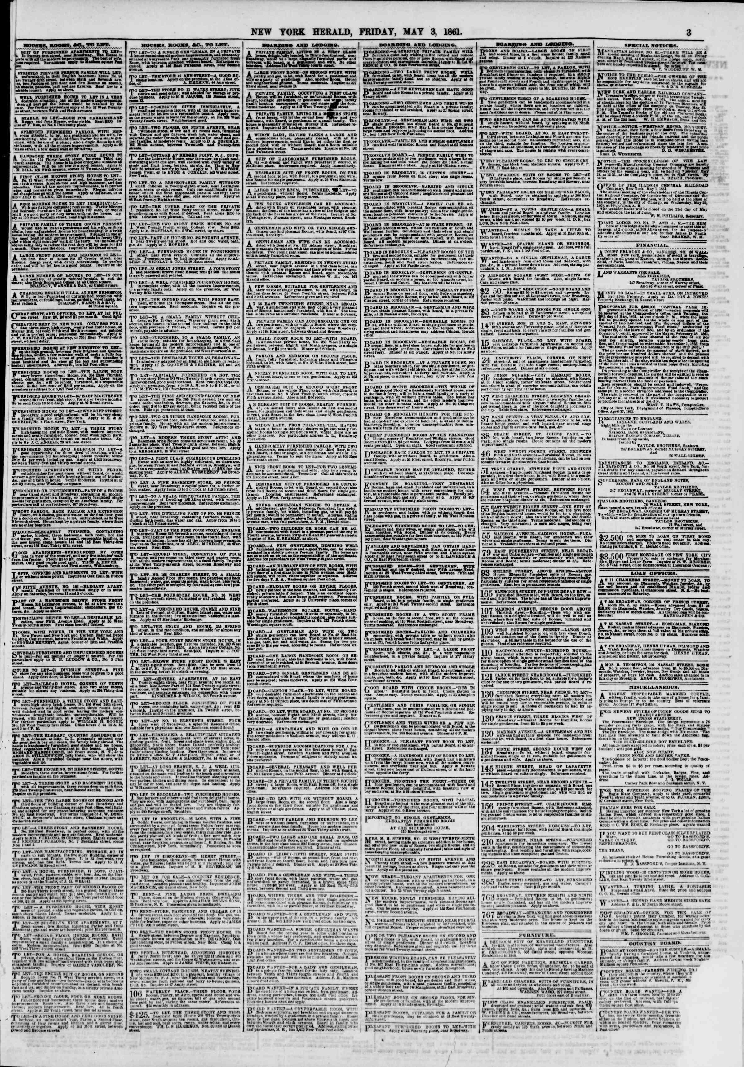 Newspaper of The New York Herald dated May 3, 1861 Page 3