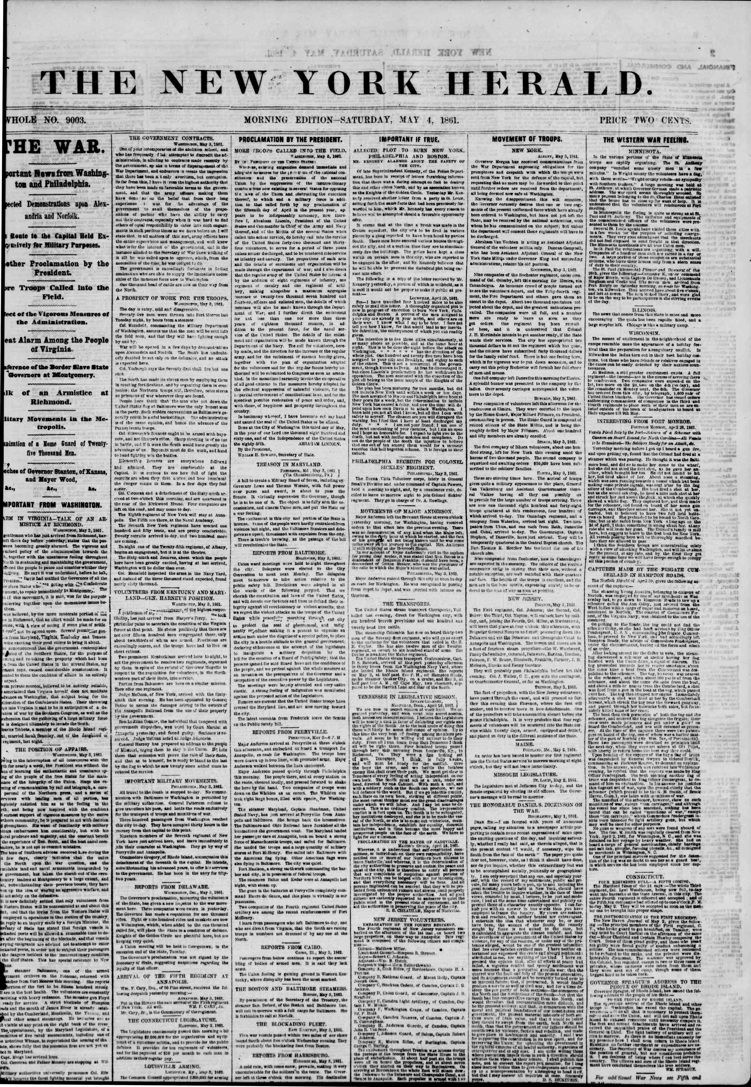 Newspaper of The New York Herald dated May 4, 1861 Page 1