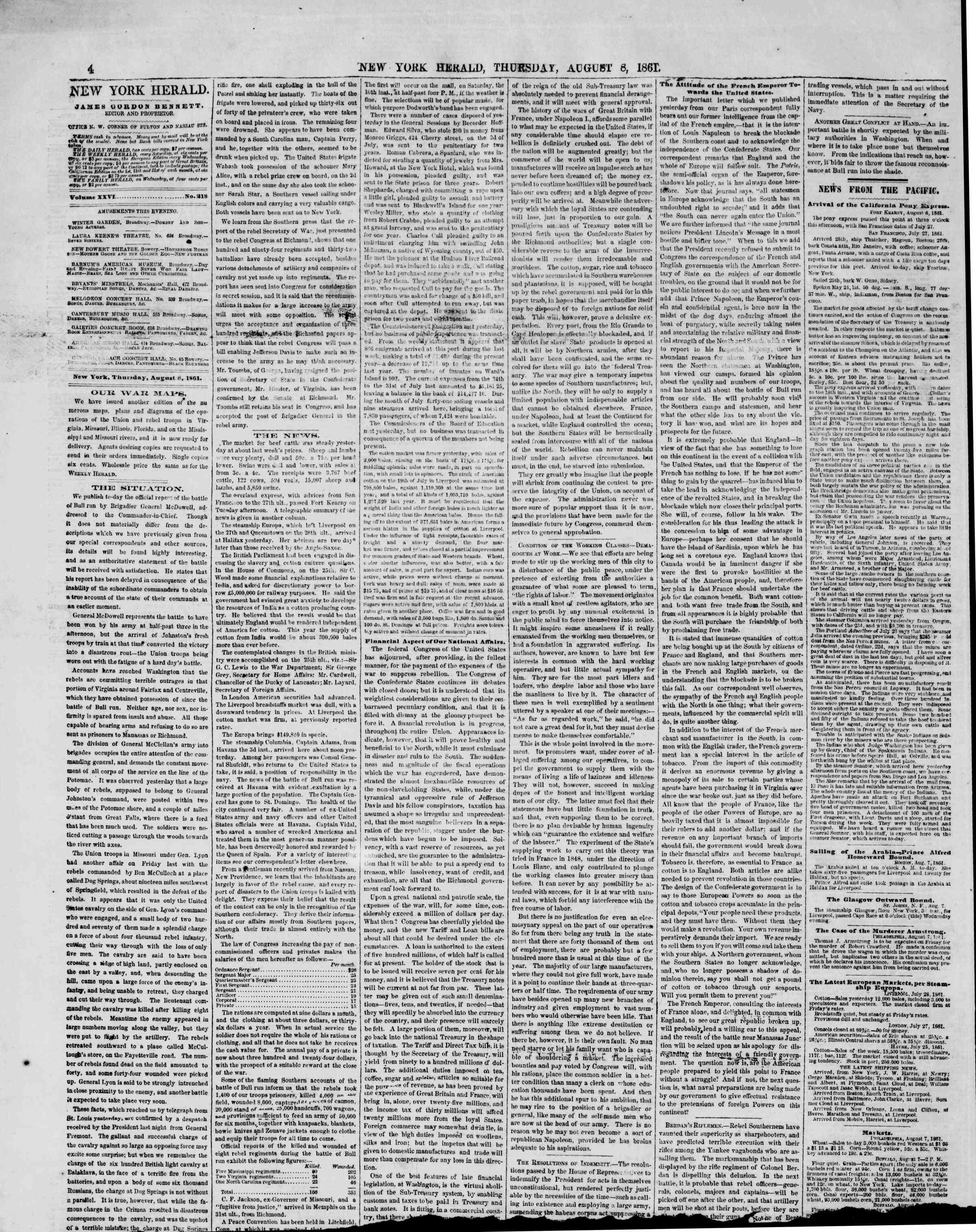 Newspaper of The New York Herald dated August 8, 1861 Page 4