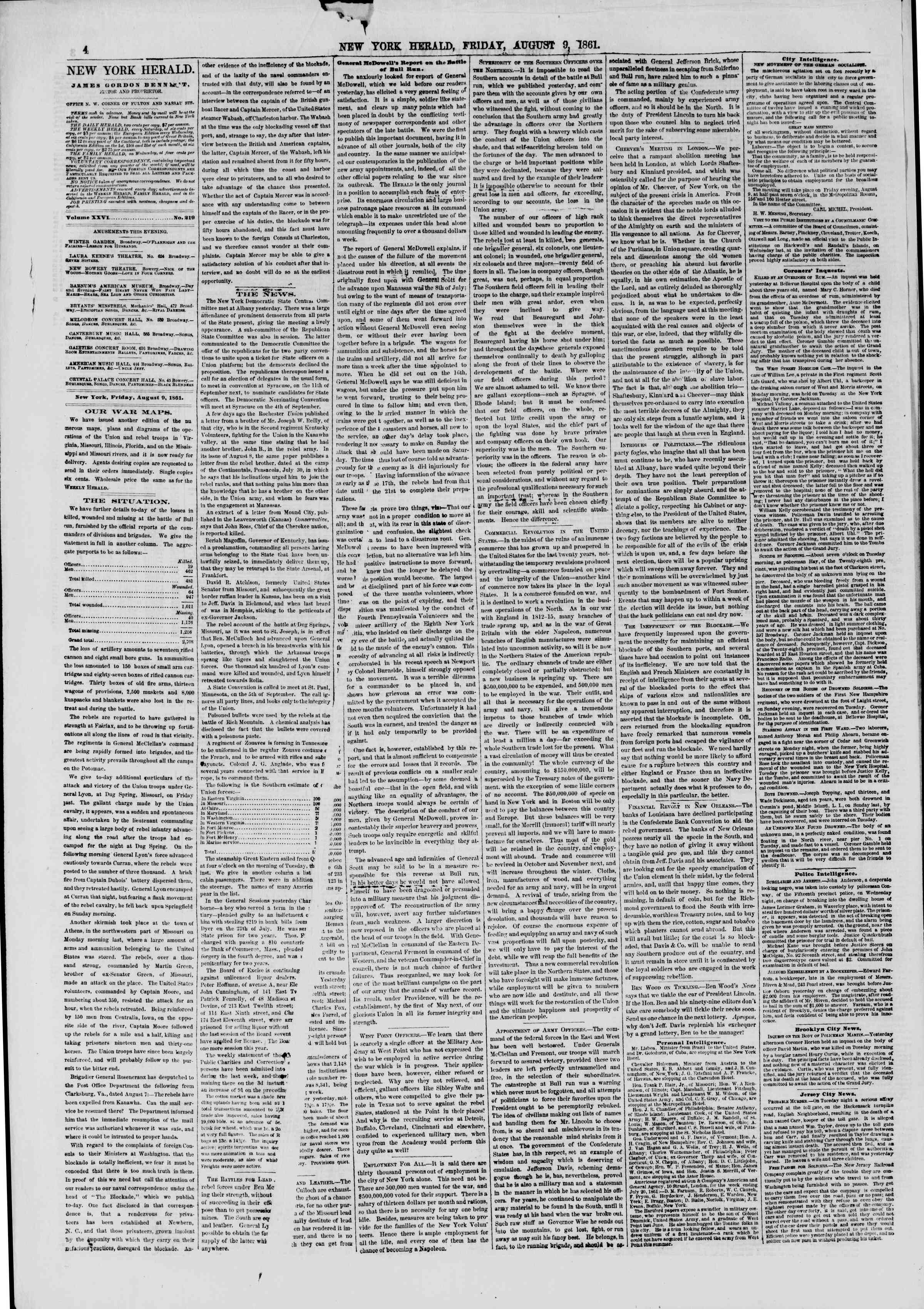 Newspaper of The New York Herald dated August 9, 1861 Page 4