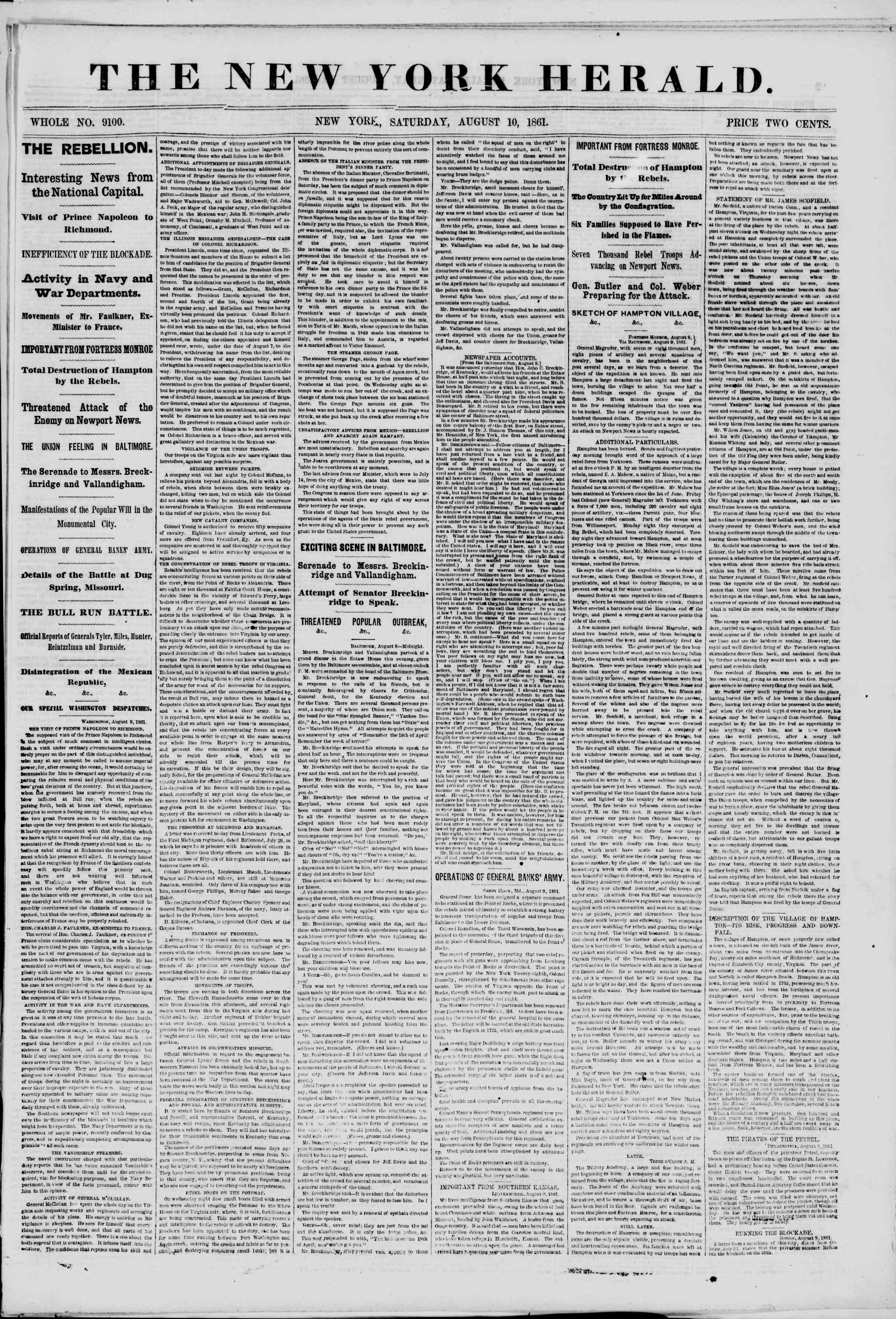 Newspaper of The New York Herald dated August 10, 1861 Page 1