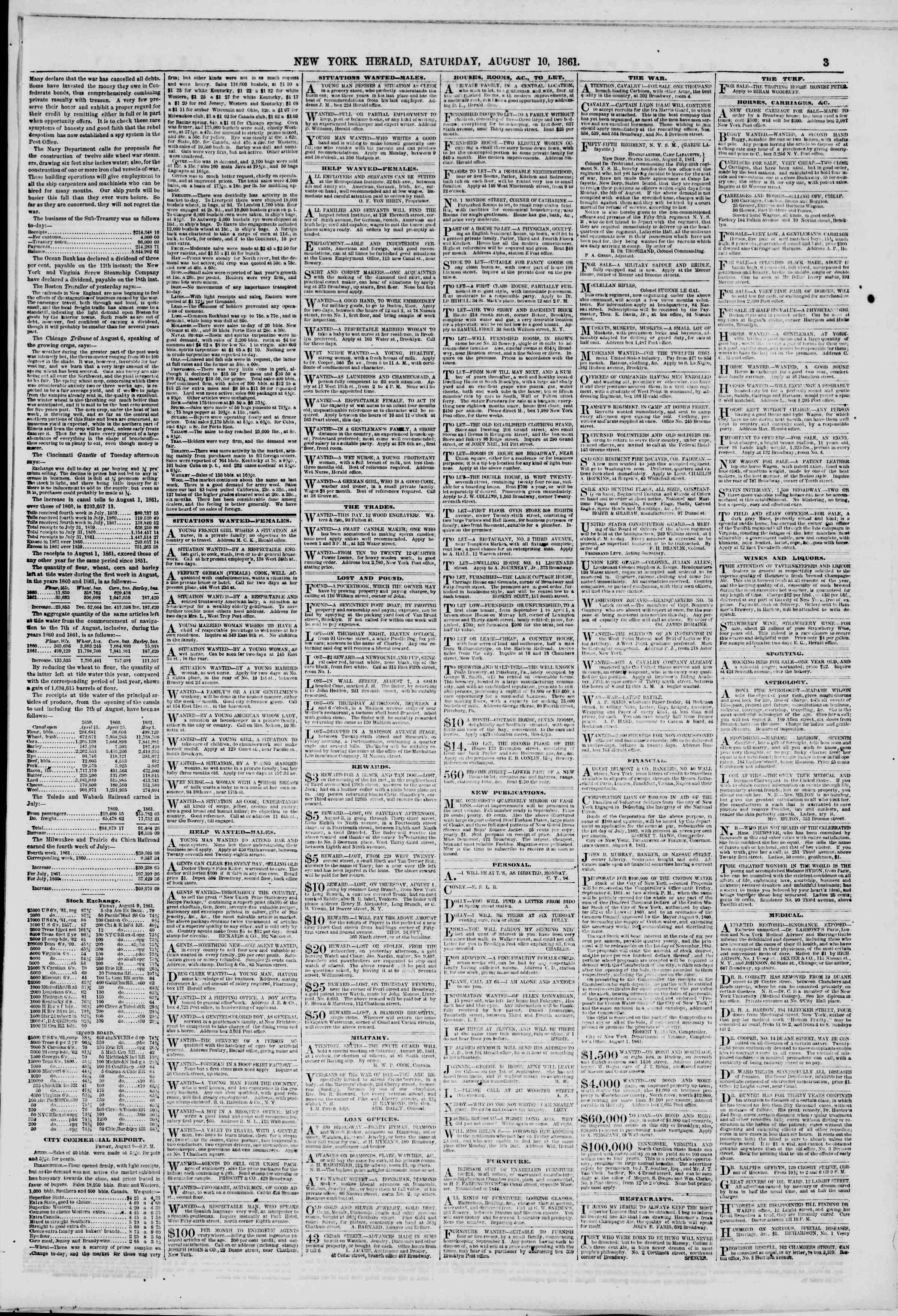 Newspaper of The New York Herald dated August 10, 1861 Page 3