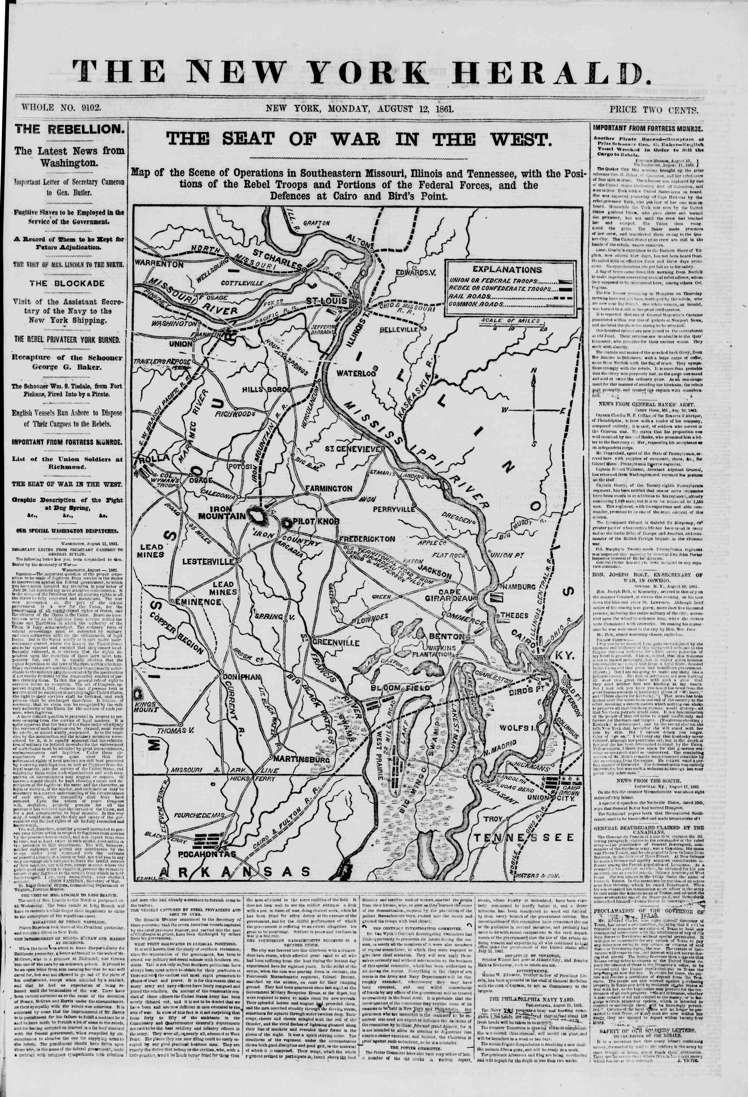 Newspaper of The New York Herald dated August 12, 1861 Page 1